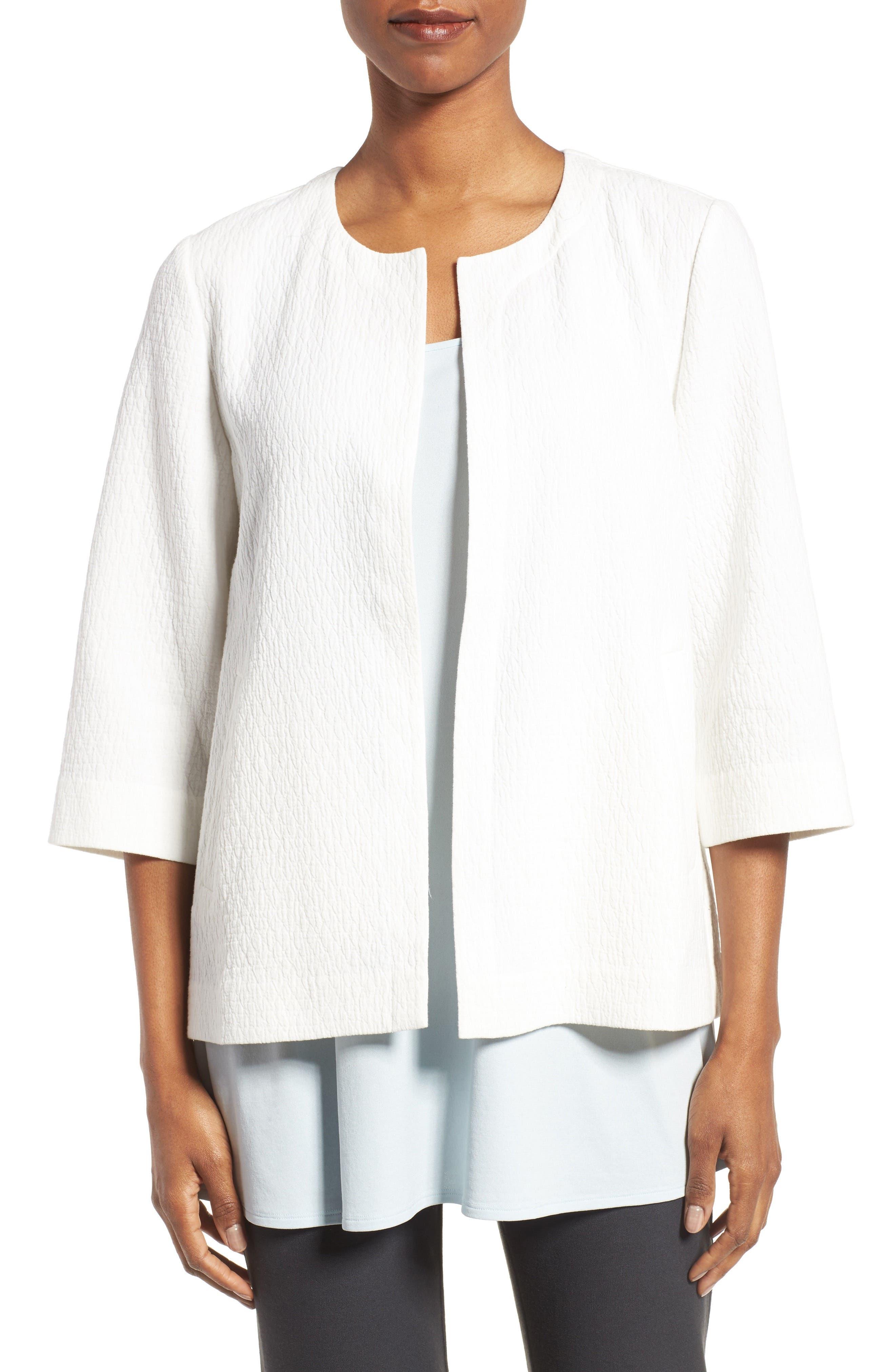 Eileen Fisher Organic Cotton Blend Round Neck Jacket (Regular & Petite)