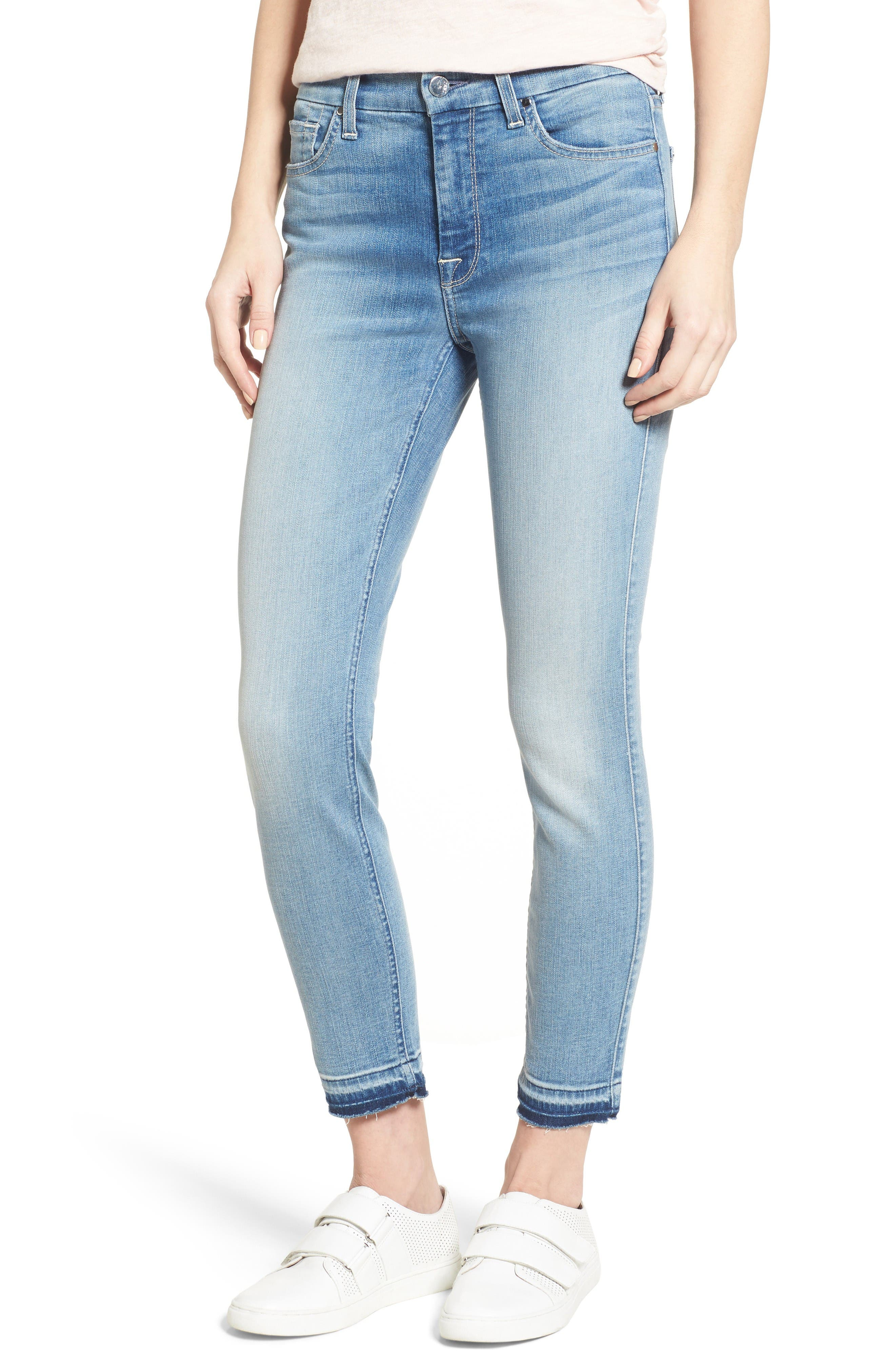 Jen7 Release Hem Stretch Ankle Skinny Jeans (Skyline Washed Blue)