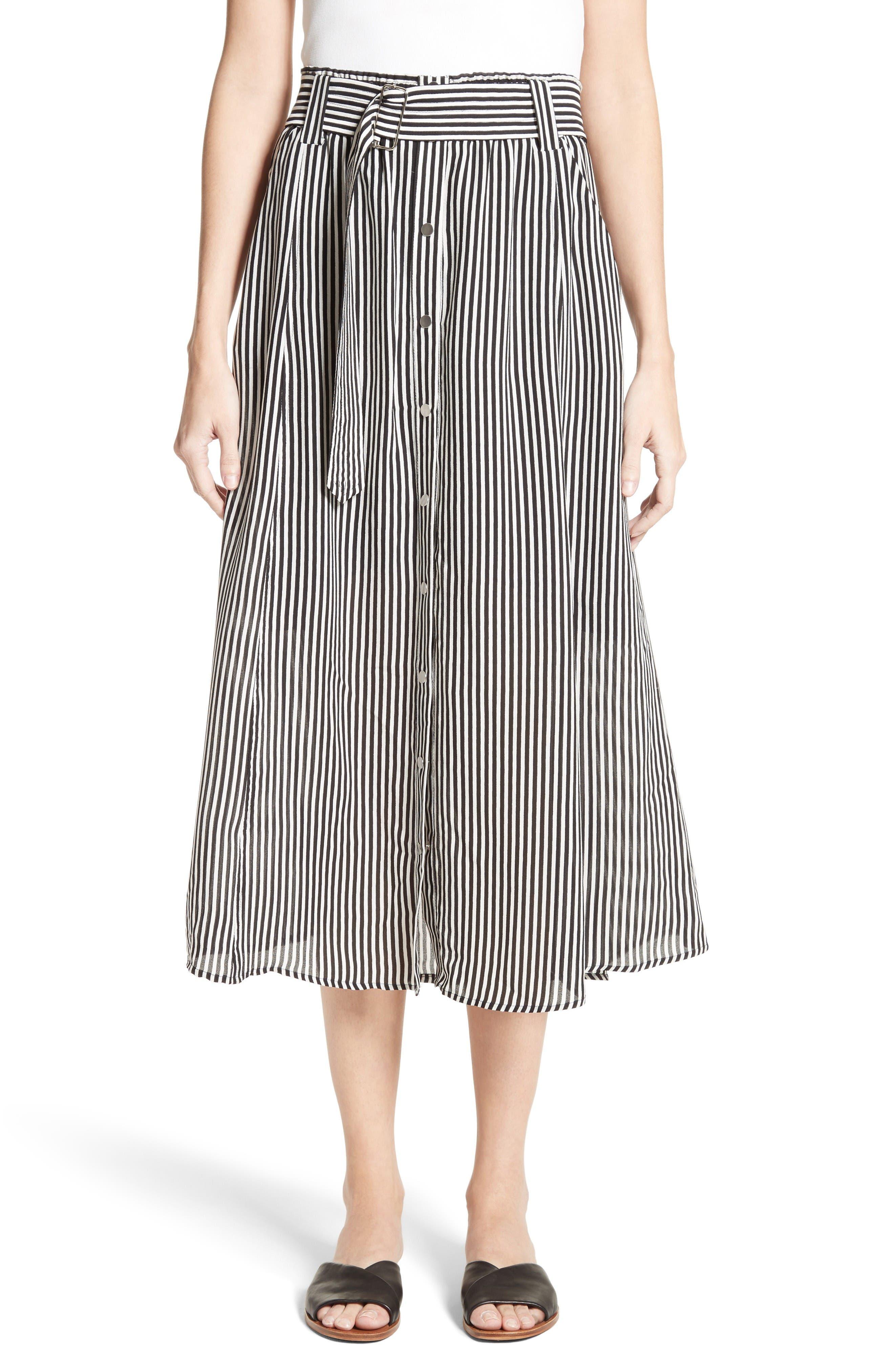 A.L.C. Divya Stripe Midi Skirt