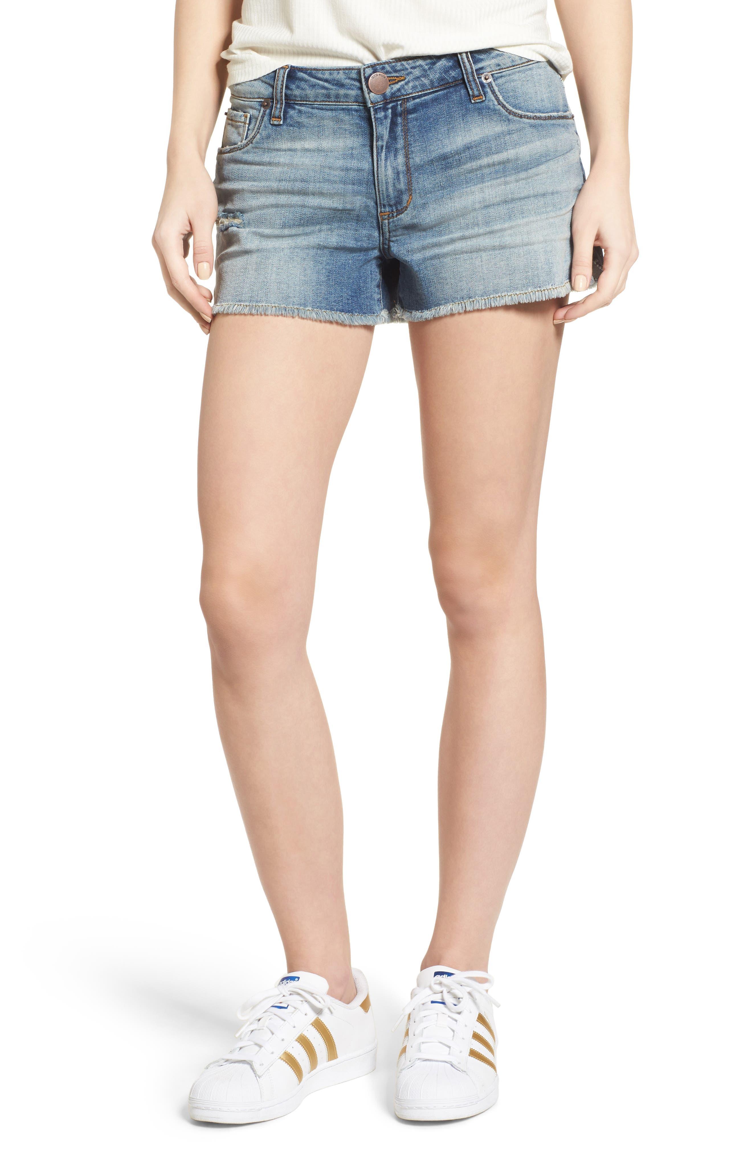 STS Blue Frayed Hem Side Slit Denim Shorts