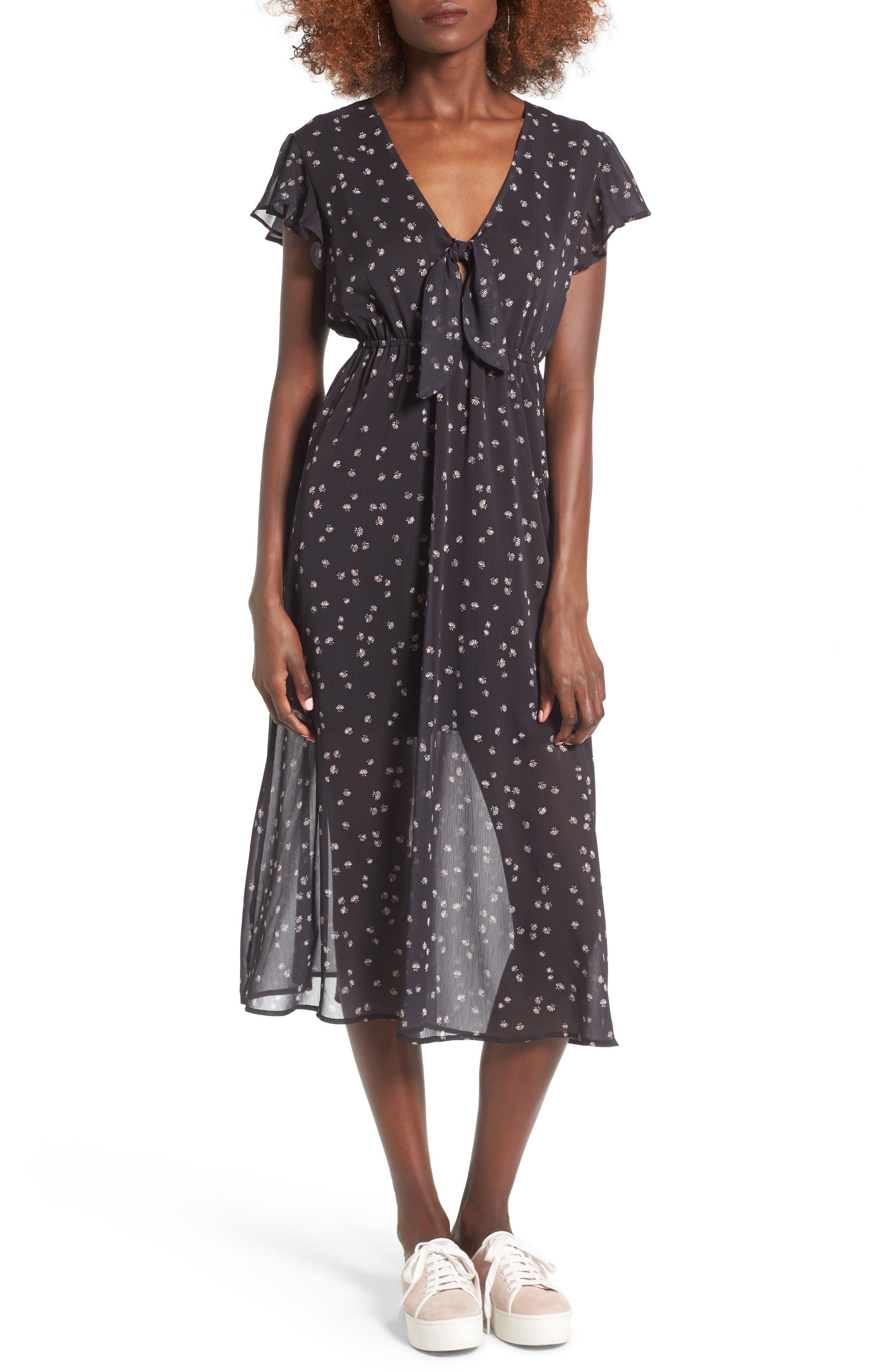 Main Image - Love, Fire Tie Front Midi Dress