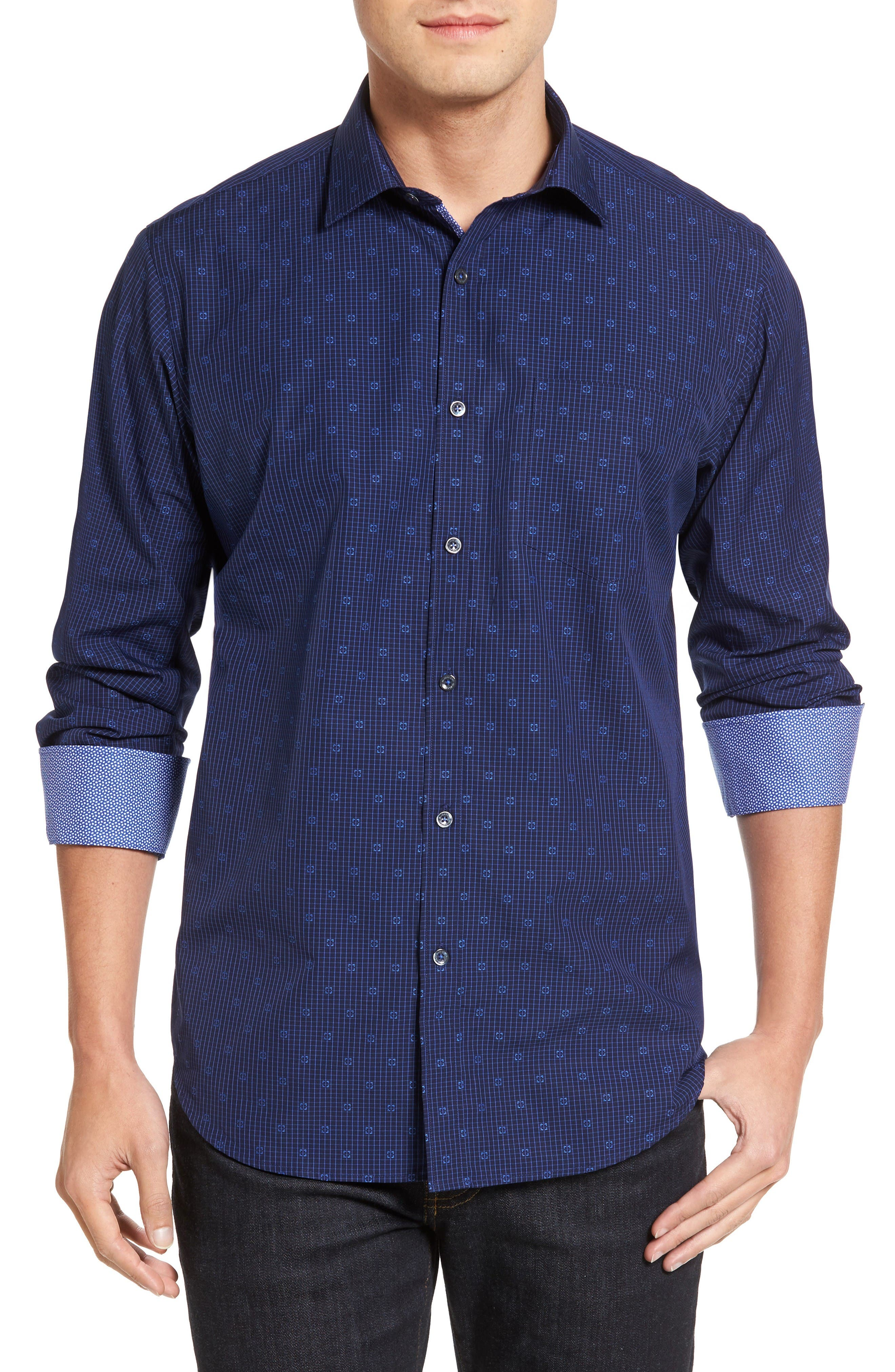 BUGATCHI Classic Fit Dobby Grid Sport Shirt