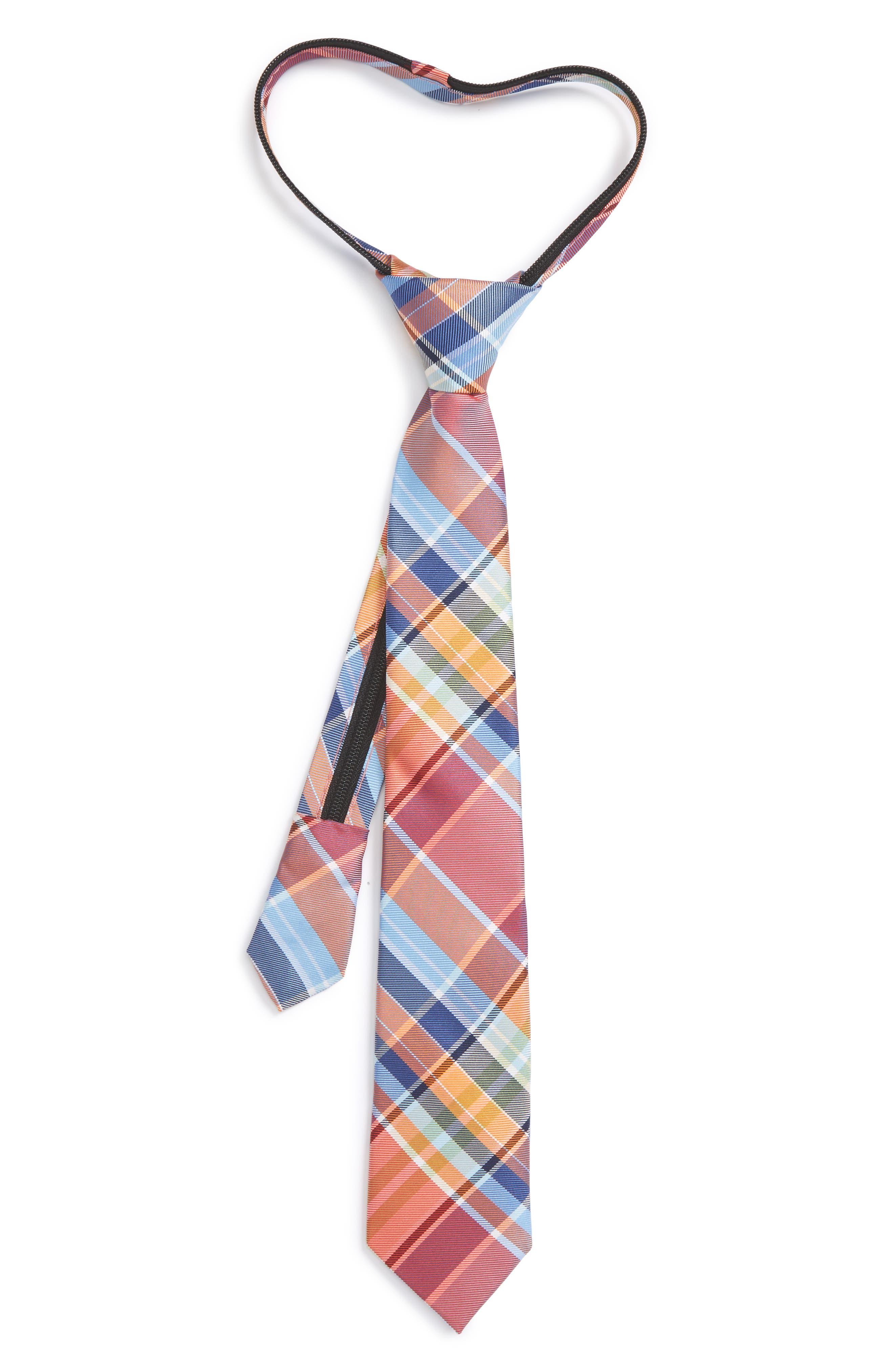 Nordstrom Plaid Silk Zipper Tie (Big Boys)