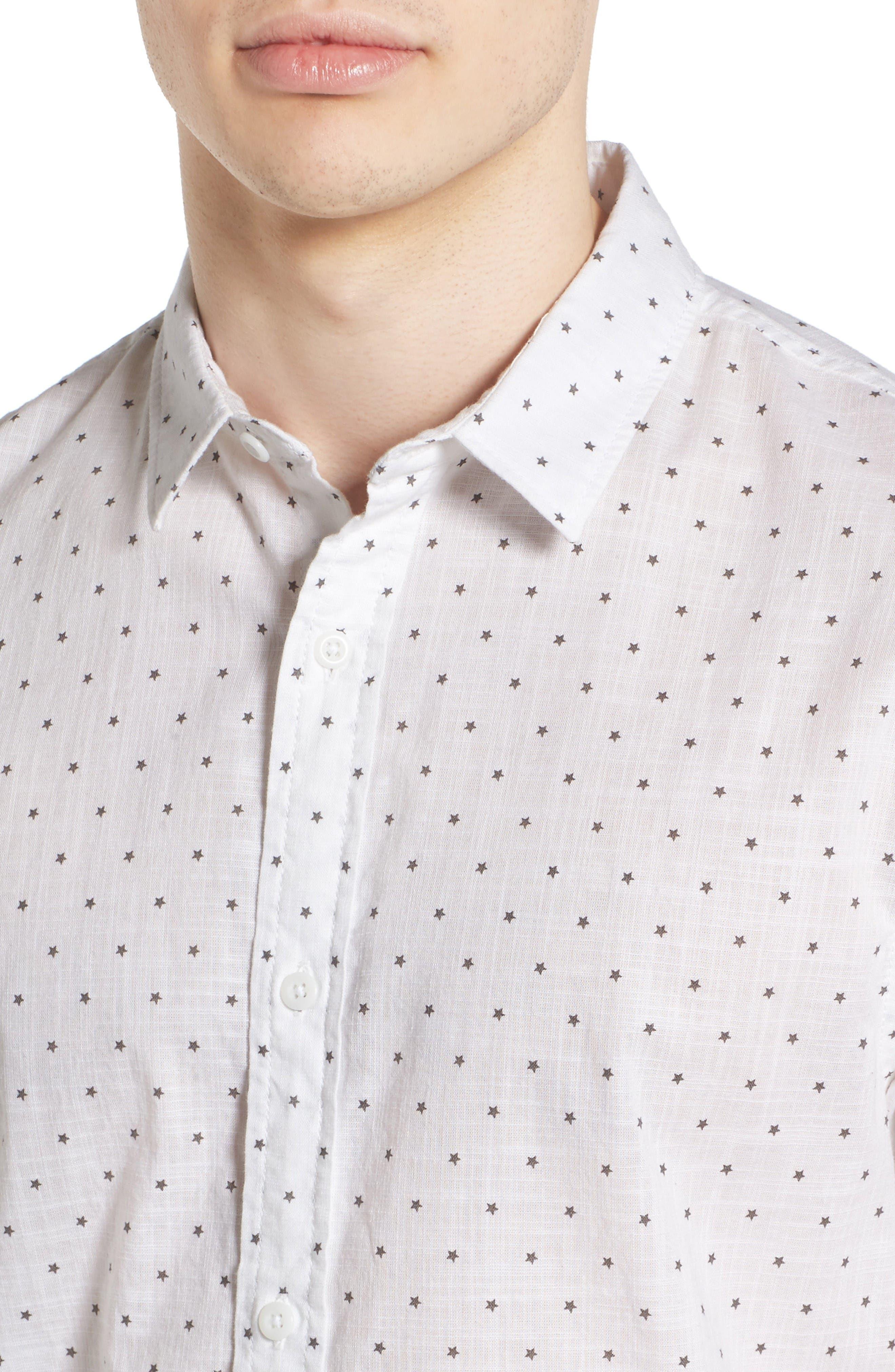 Alternate Image 4  - 1901 Star Print Woven Shirt