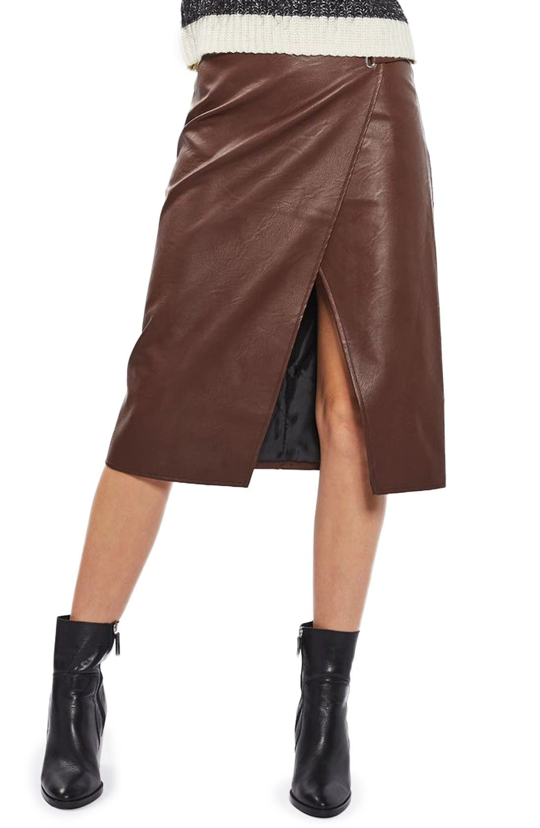 Main Image - Topshop Faux Leather Wrap Midi Skirt