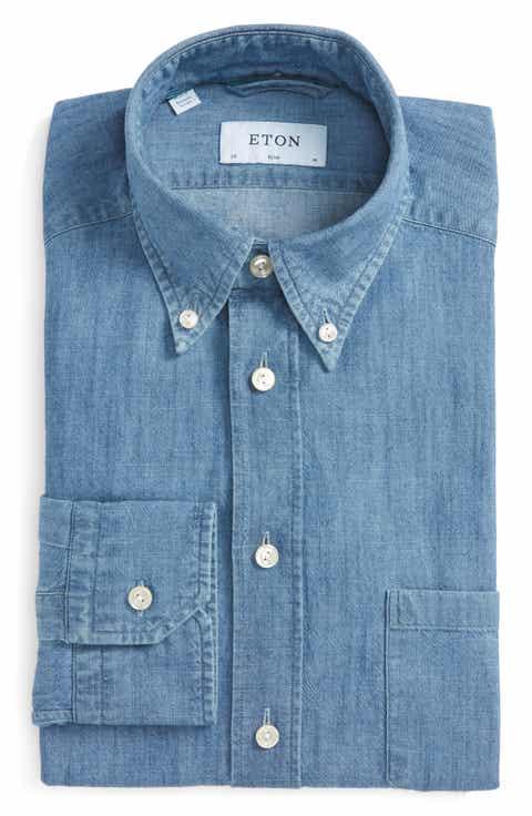Button down collar extra trim fit dress shirts for men for Extra slim dress shirt