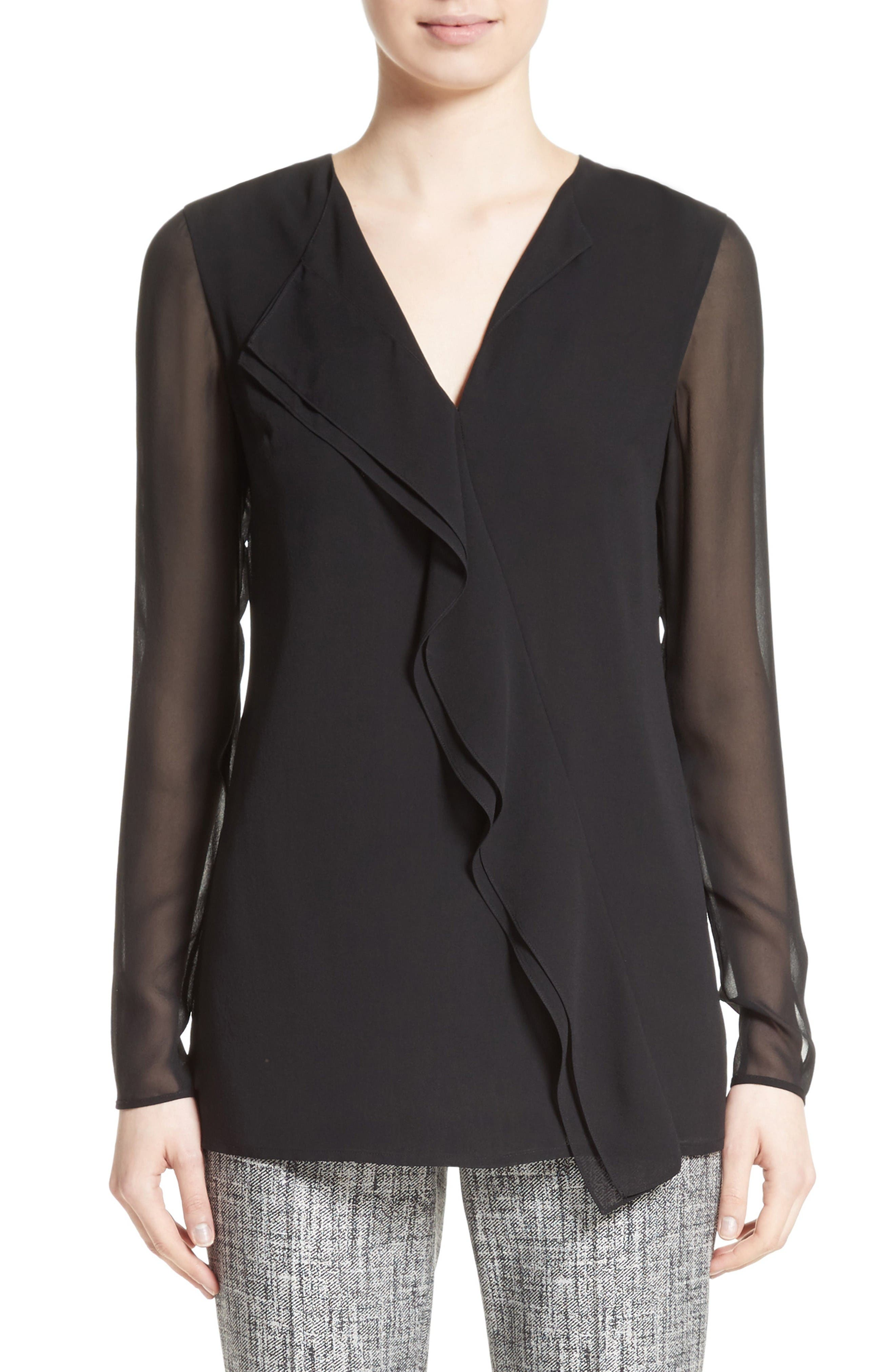 St. John Collection Silk Asymmetrical Ruffle Blouse