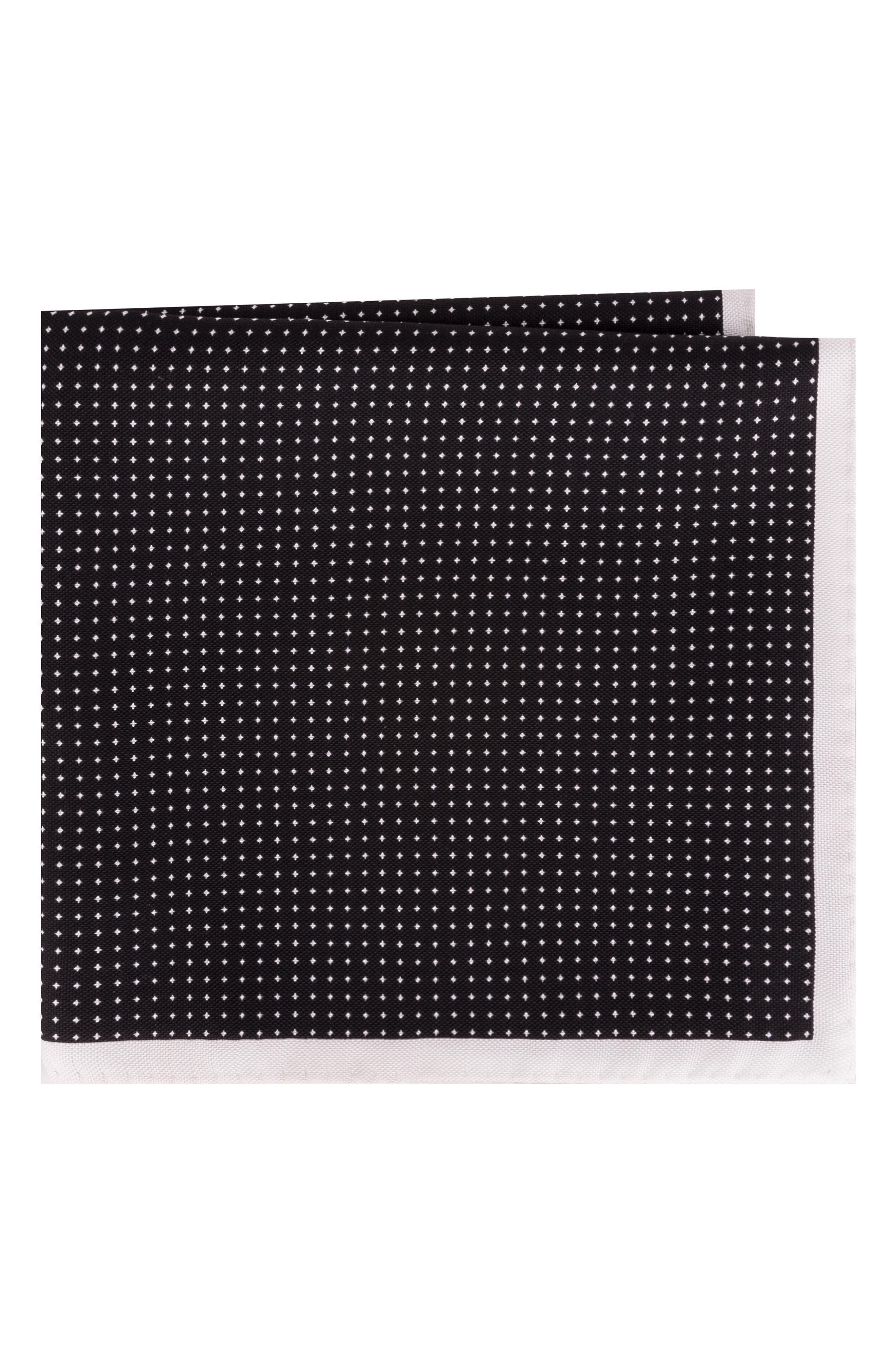 Ted Baker London Black & White Silk Pocket Square