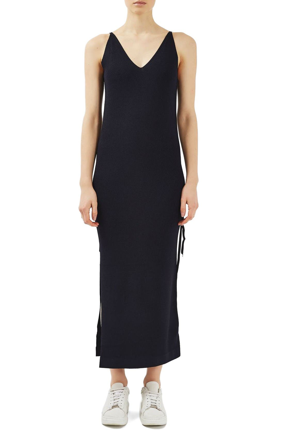 TOPSHOP BOUTIQUE Ribbed Midi Slipdress