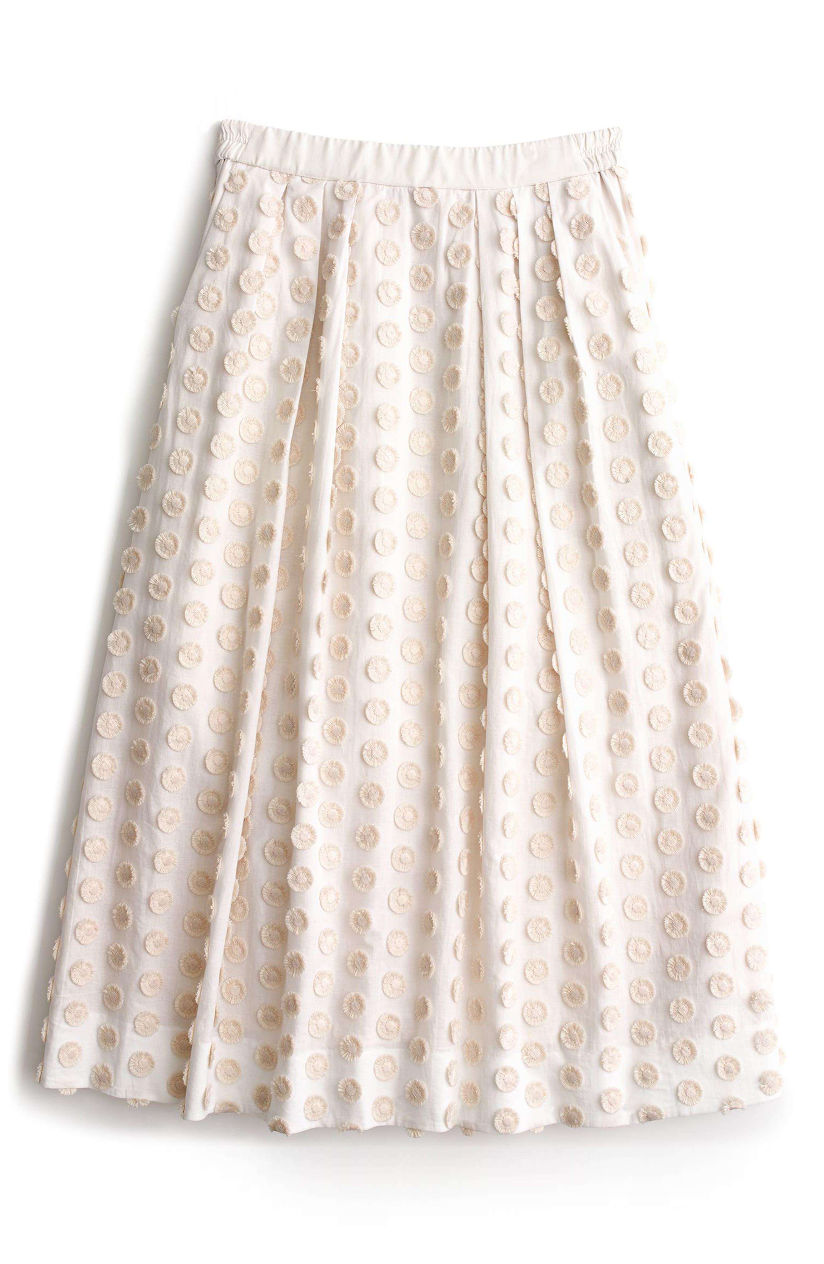 J.CREW Fringe Dot Midi Skirt