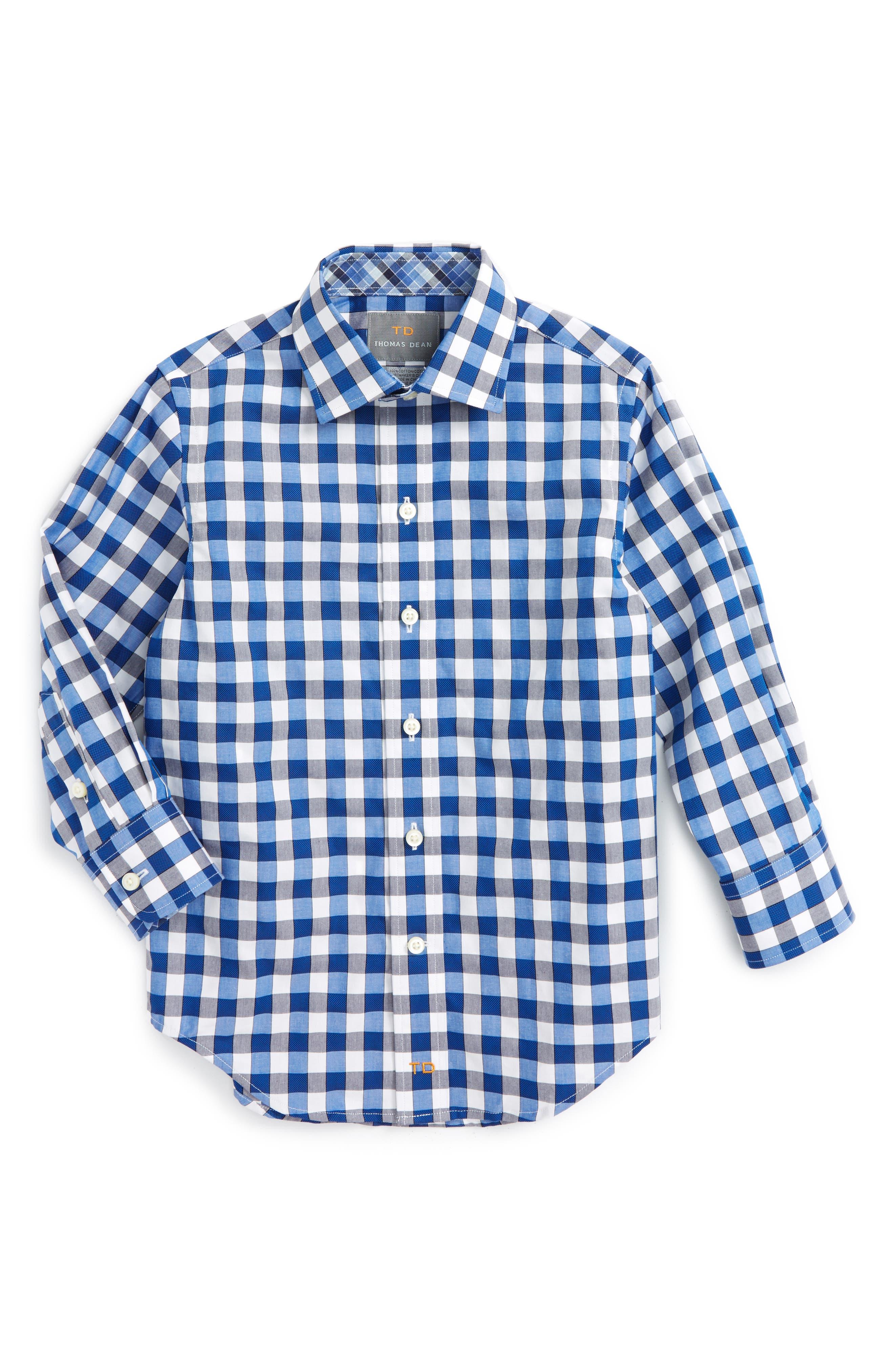THOMAS DEAN Gingham Dress Shirt