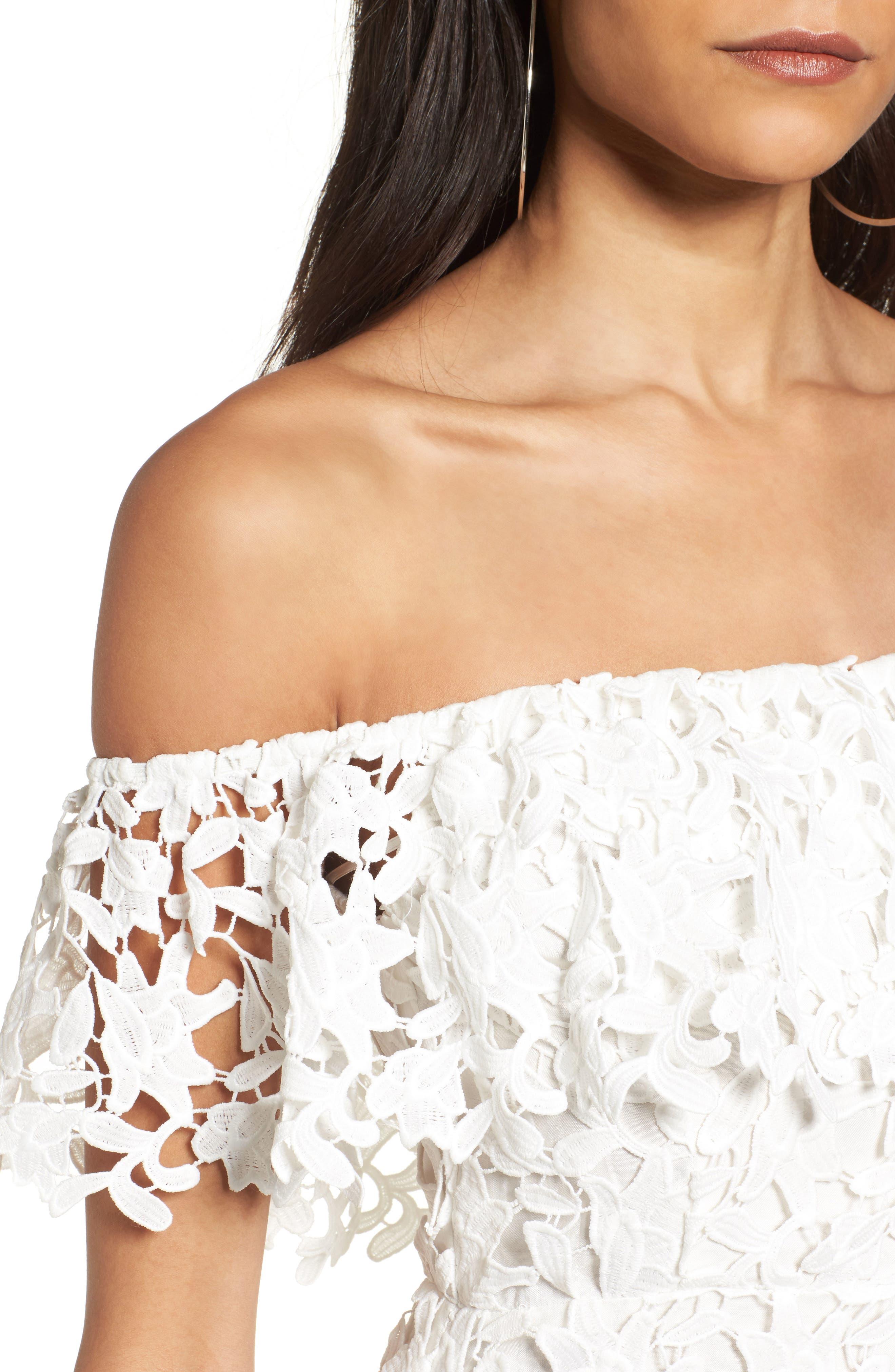 Alternate Image 4  - ASTR the Label Off the Shoulder Lace Minidress