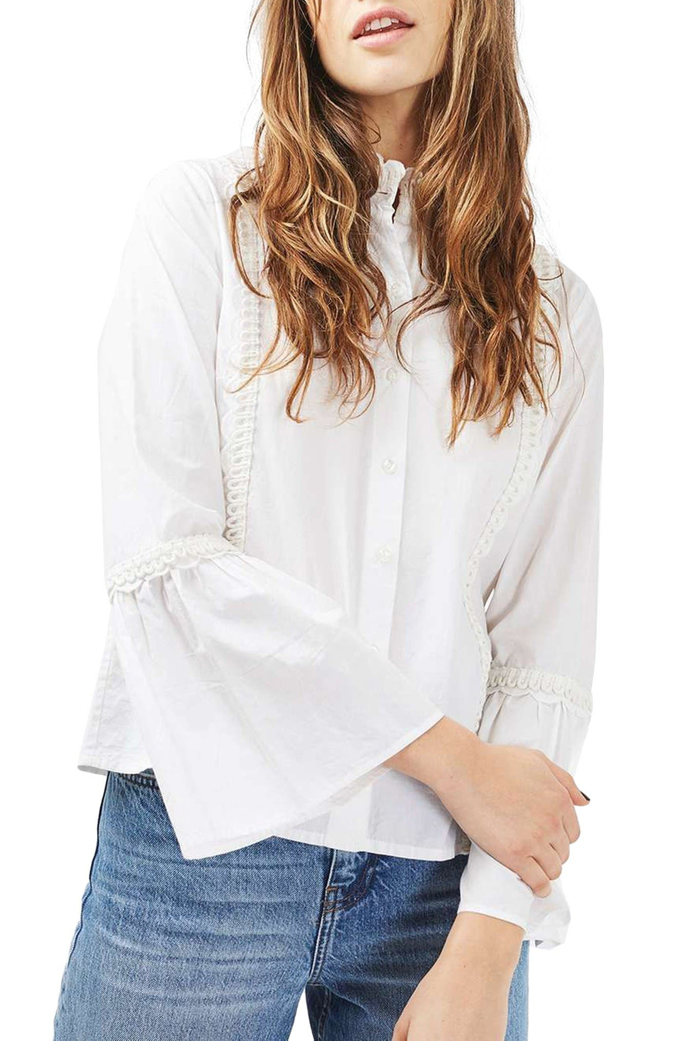 Main Image - Topshop Cotton Poplin Ruffle Blouse