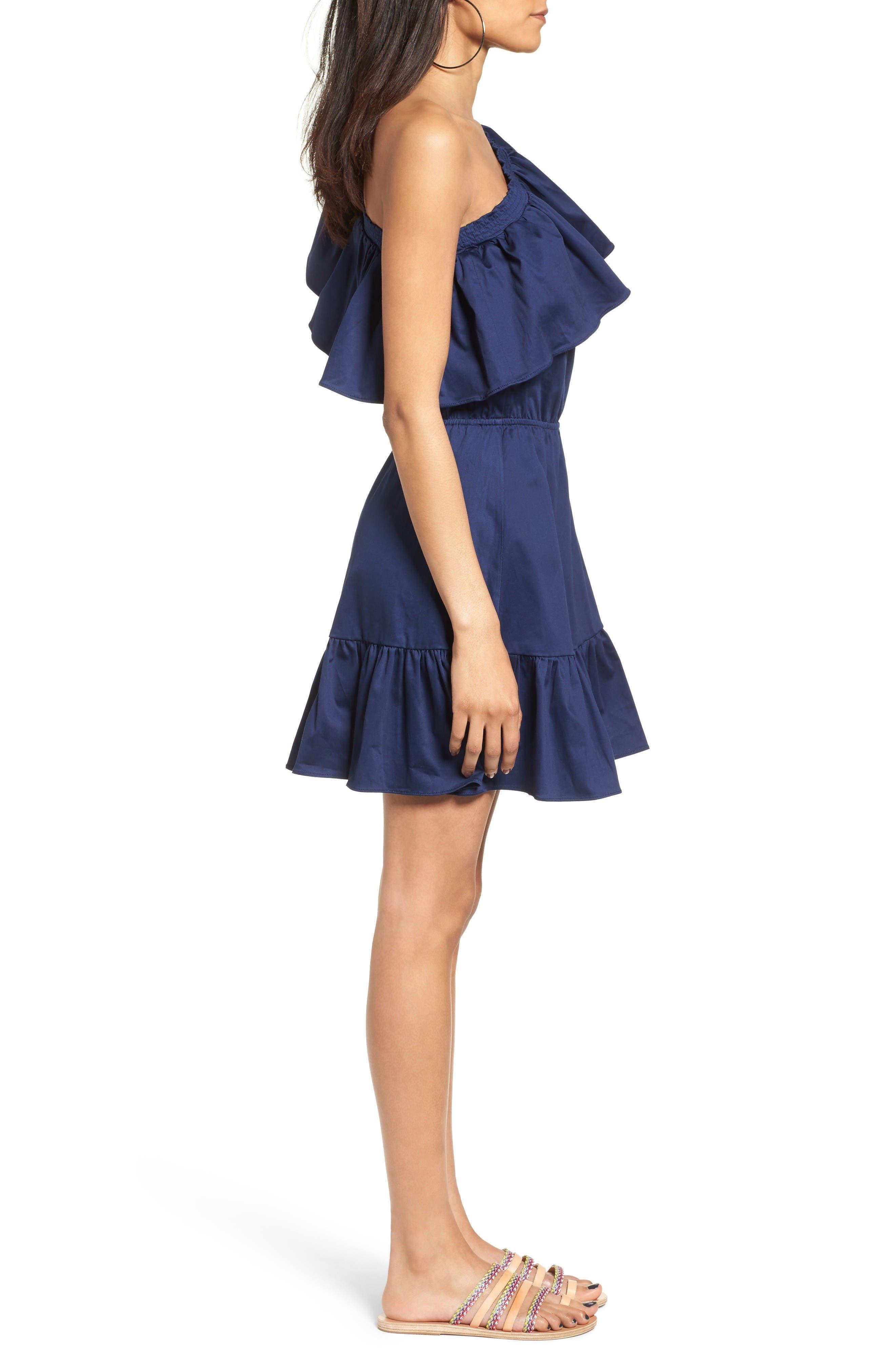 Alternate Image 3  - devlin Thea One-Shoulder Fit & Flare Dress