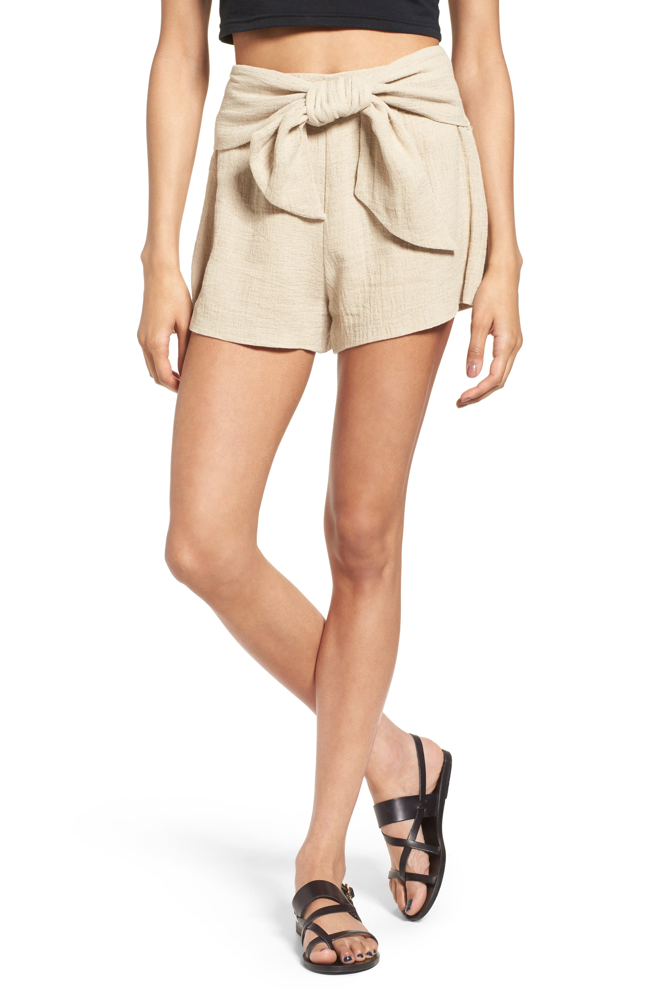 MOON RIVER Tie Waist Linen & Cotton Shorts