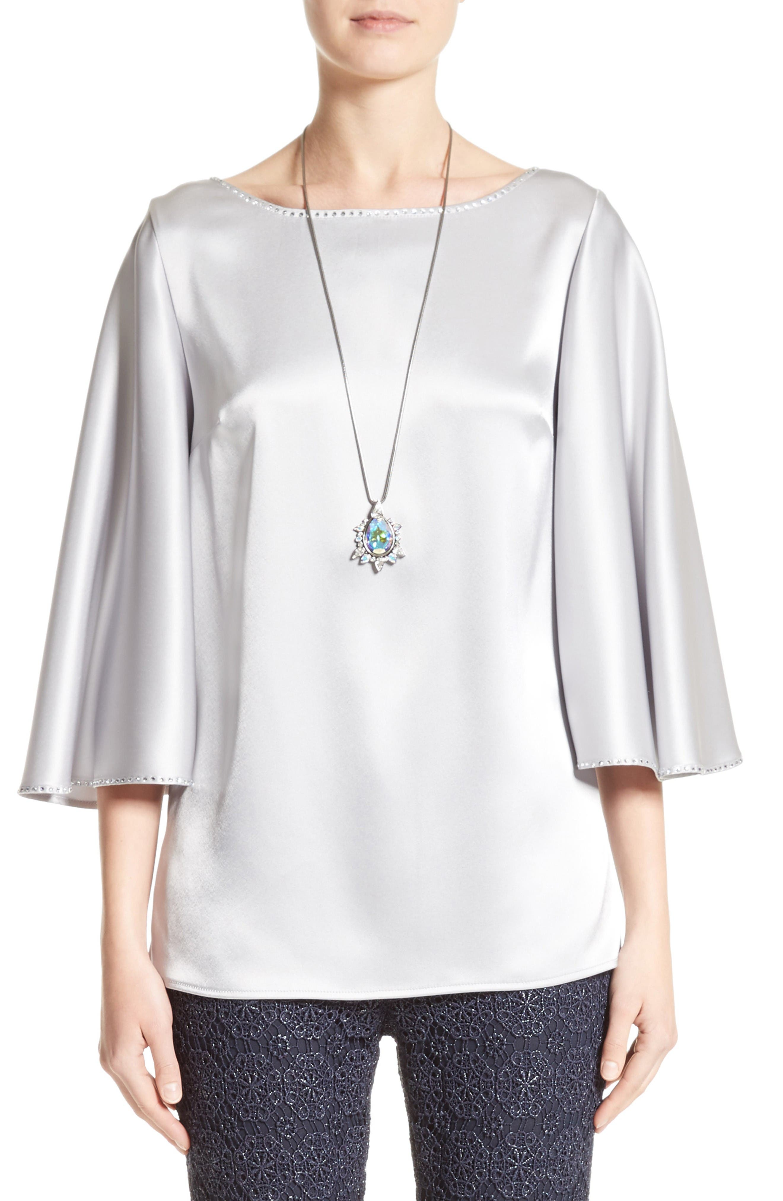 St. John Collection Embellished Liquid Satin Blouse