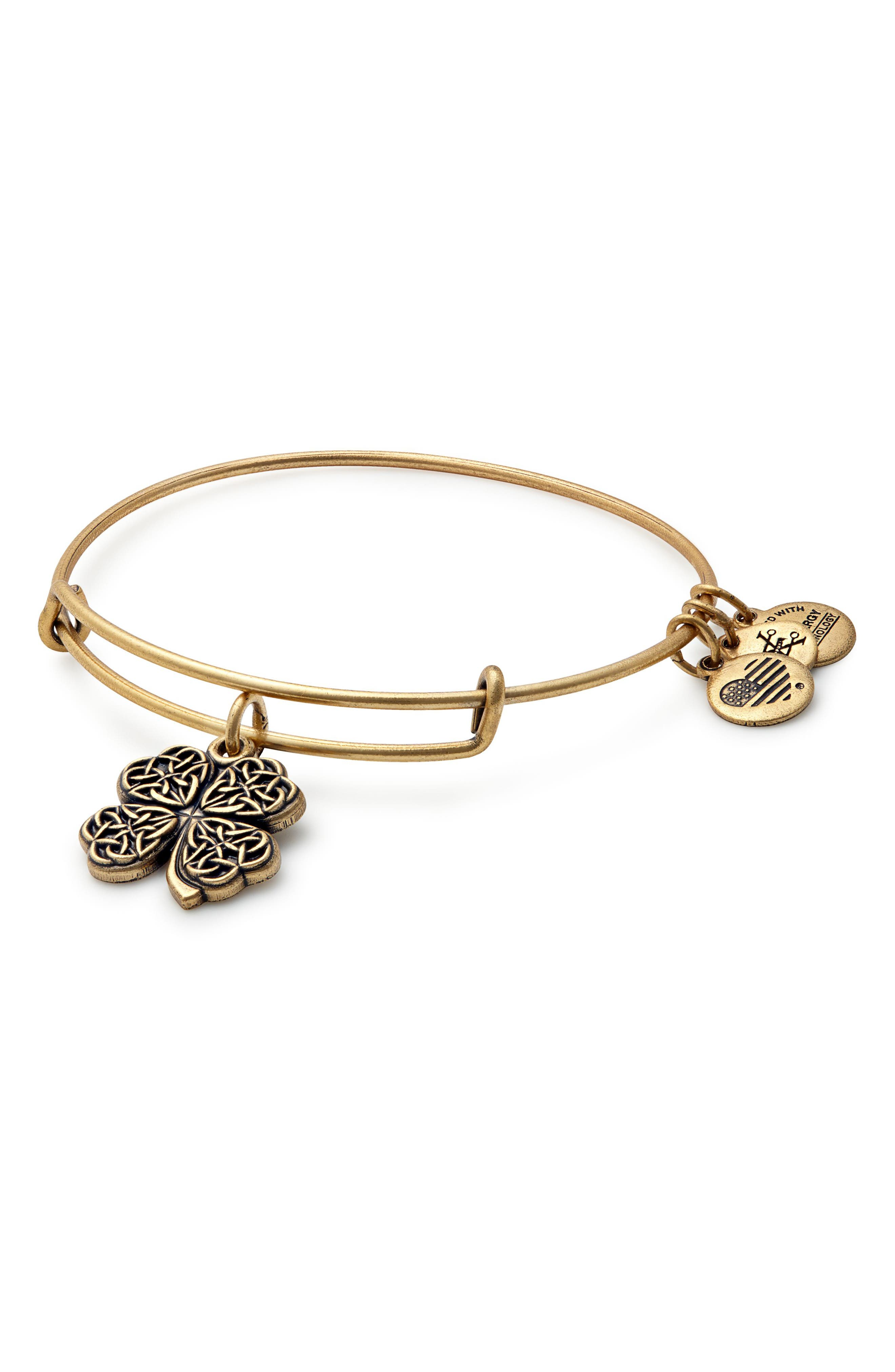Alex and Ani Four-Leaf Clover Adjustable Wire Bangle