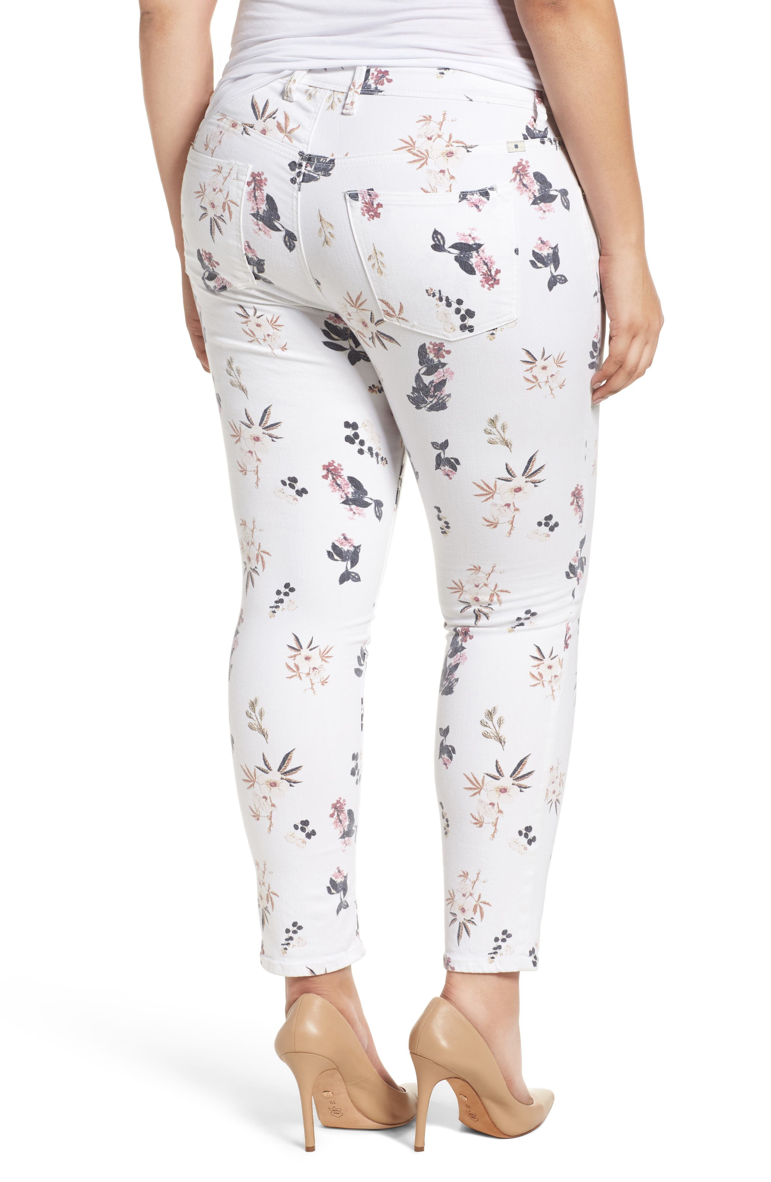Alternate Image 2  - Lucky Brand Ginger Floral Print Skinny Jeans (Plus Size)