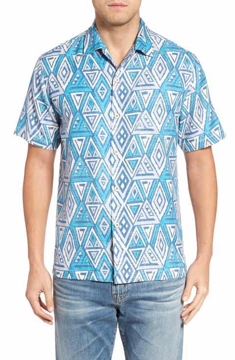 Tommy Bahama Trio Geo Silk Blend Camp Shirt (Big   Tall)