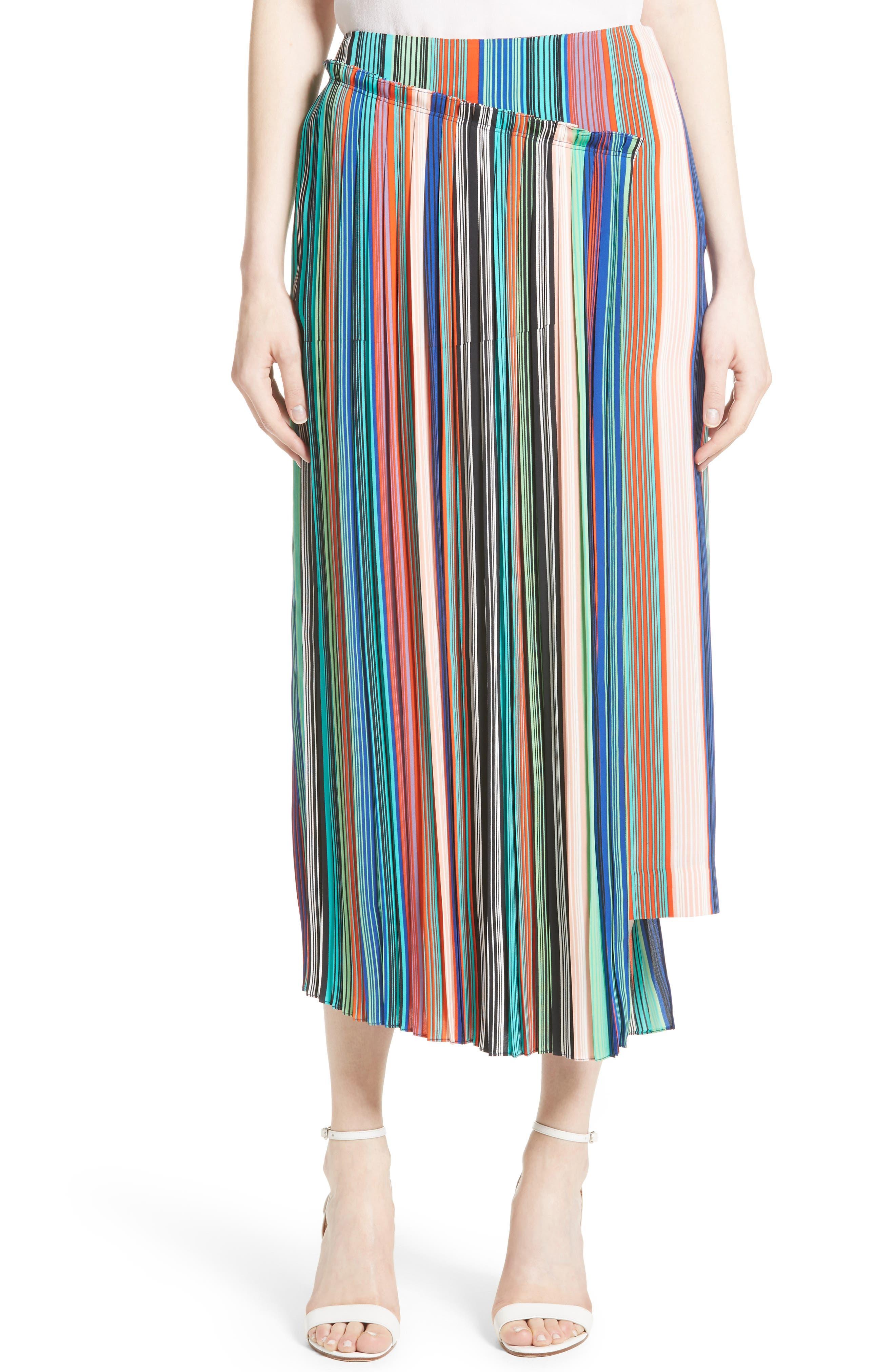 Diane von Furstenberg Stripe Asymmetrical Overlay Midi Skirt
