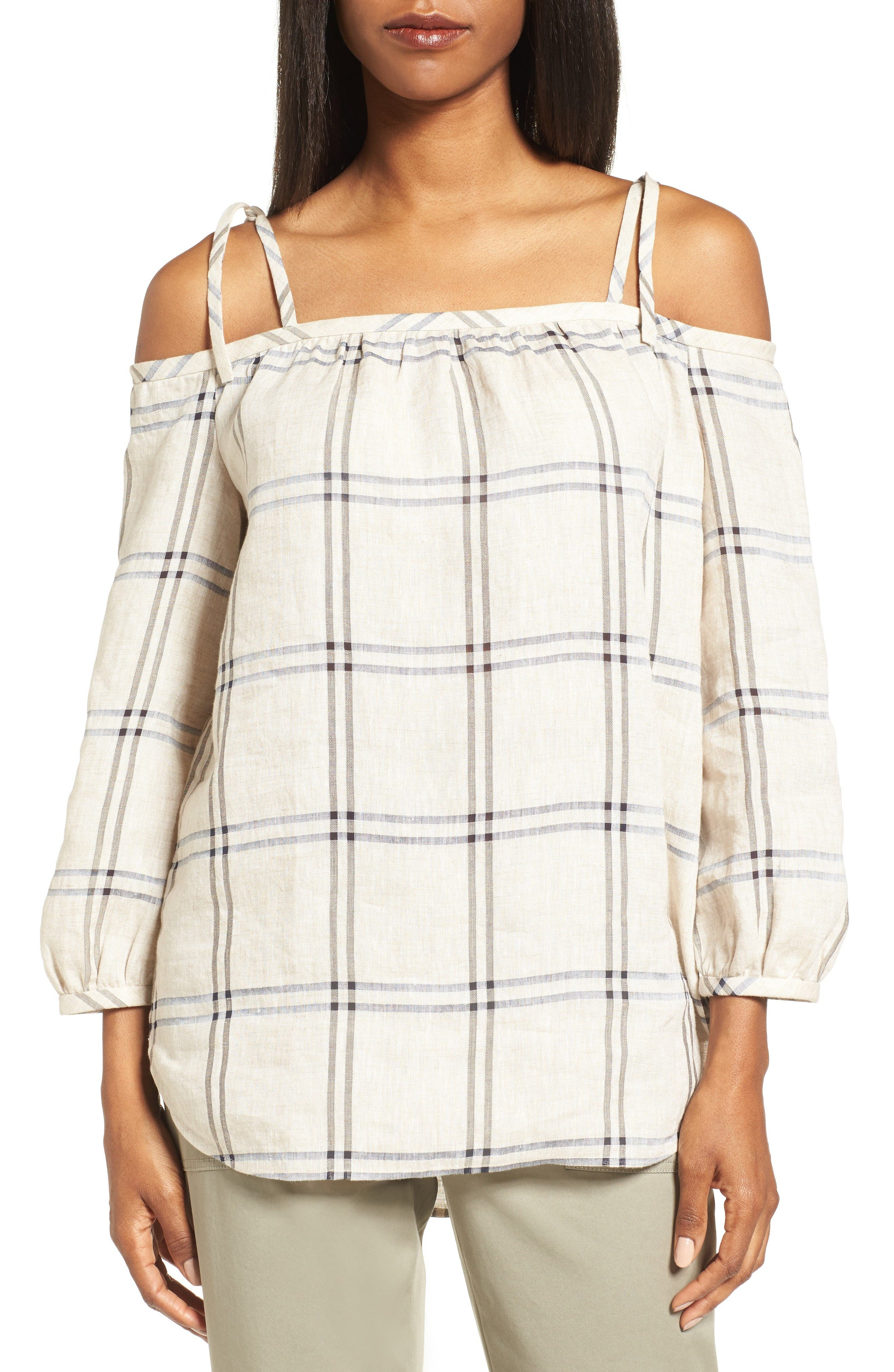 Nordstrom Collection Off the Shoulder Plaid Top