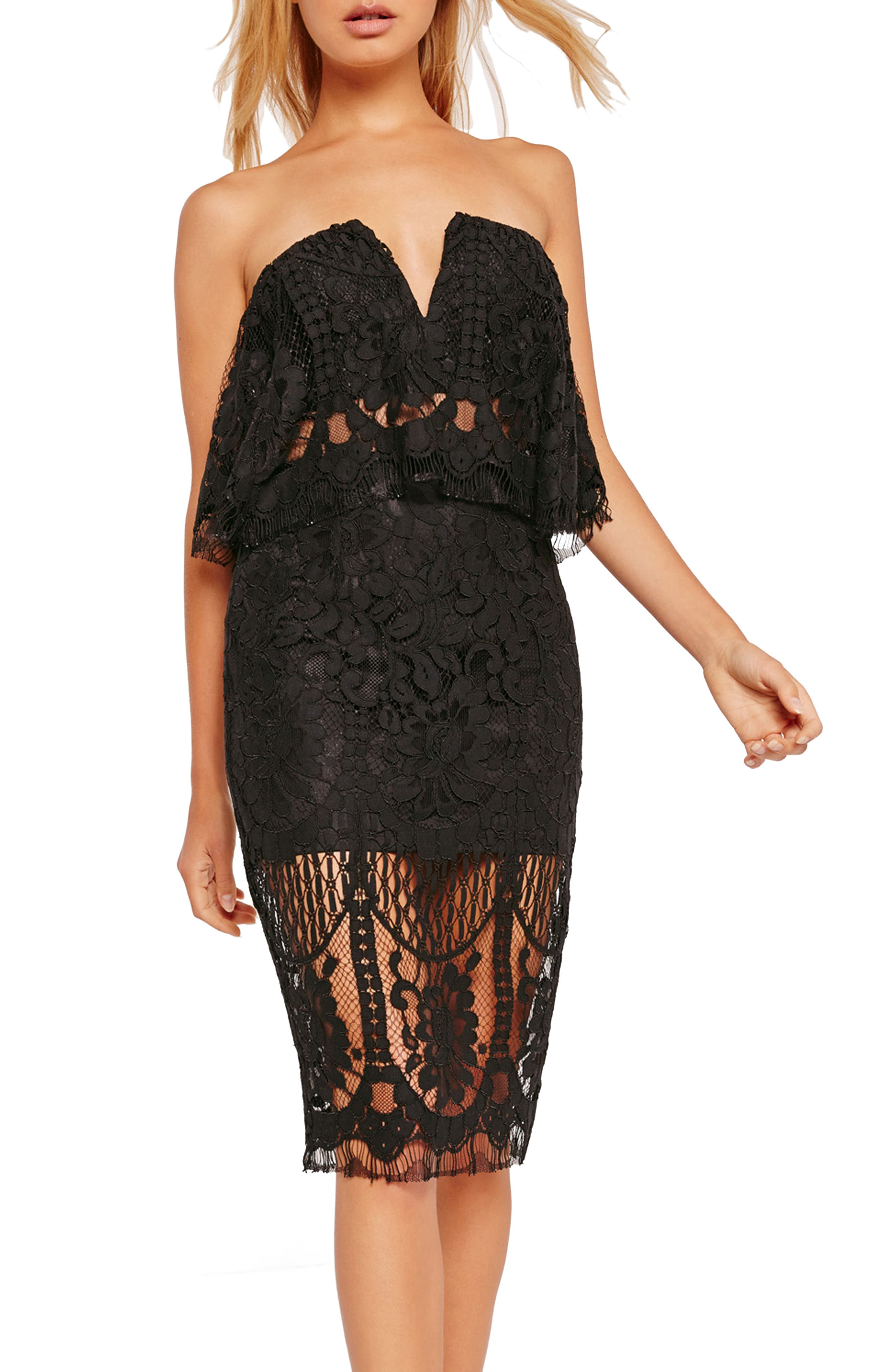 Alternate Image 3  - Missguided Strapless Lace Midi Dress