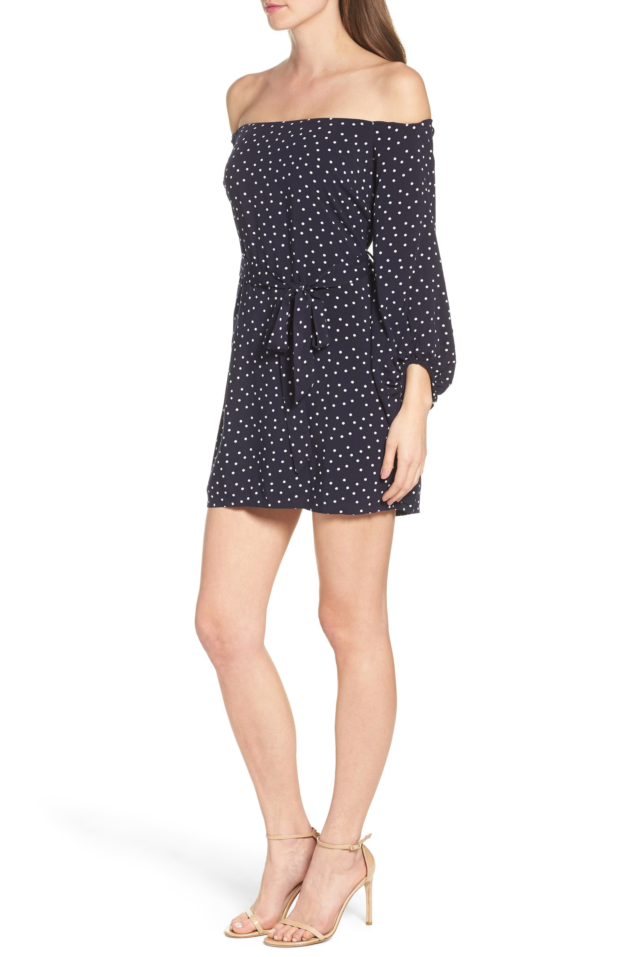 Alternate Image 3  - Bardot Polka Dot Off the Shoulder Dress