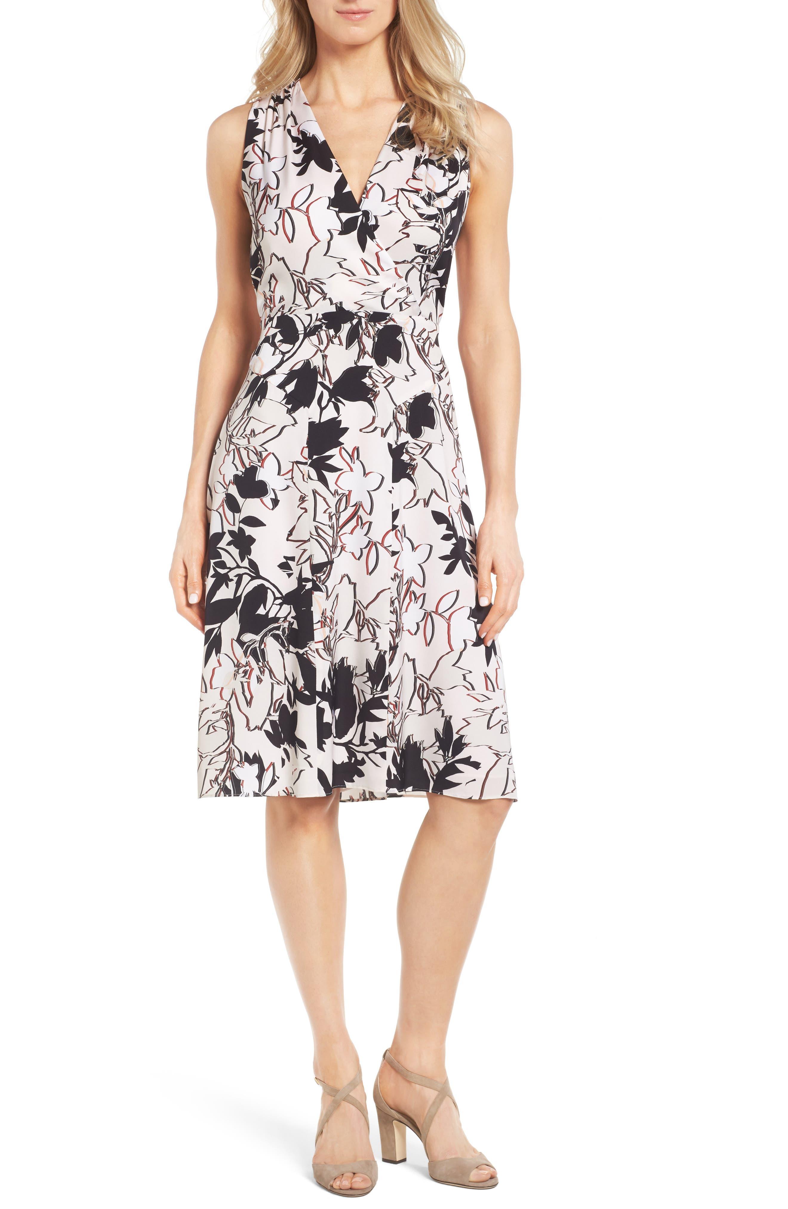 Classiques Entier® Faux Wrap Stretch Silk Dress
