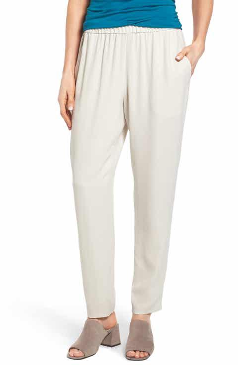 Eileen Fisher Slouchy Silk Crepe Ankle Pants (Regular   Petite)