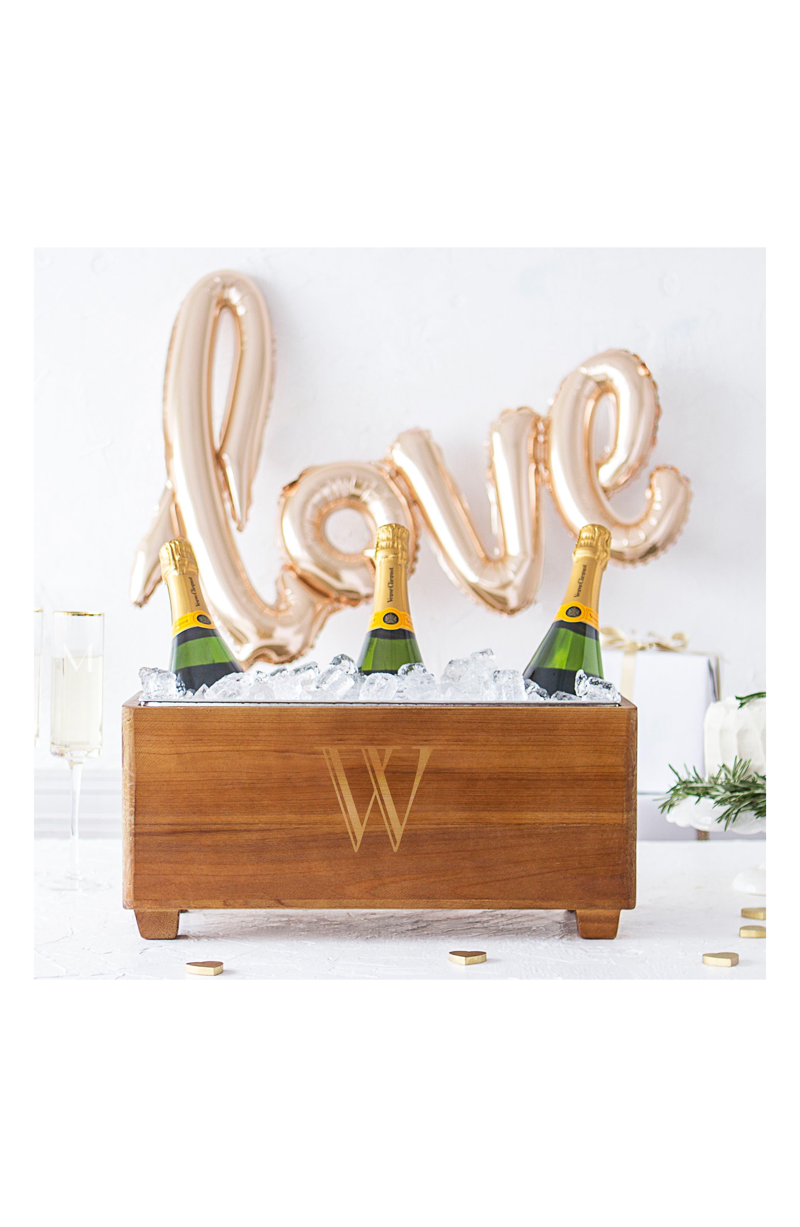 Alternate Image 3  - Cathy's Concepts Monogram Wood Wine Trough