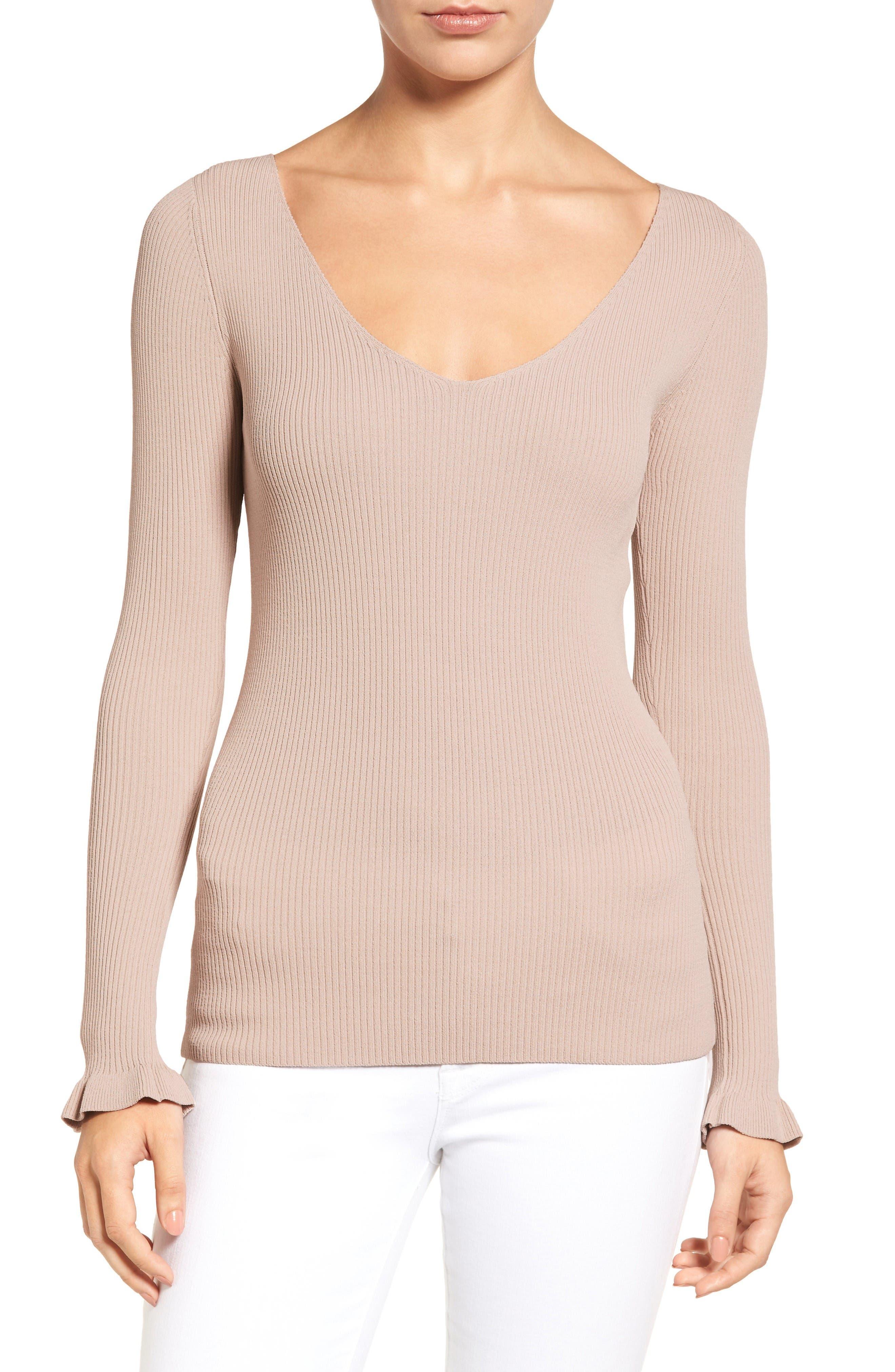 Alternate Image 1 Selected - Chelsea28 Ribbed V-Neck Sweater