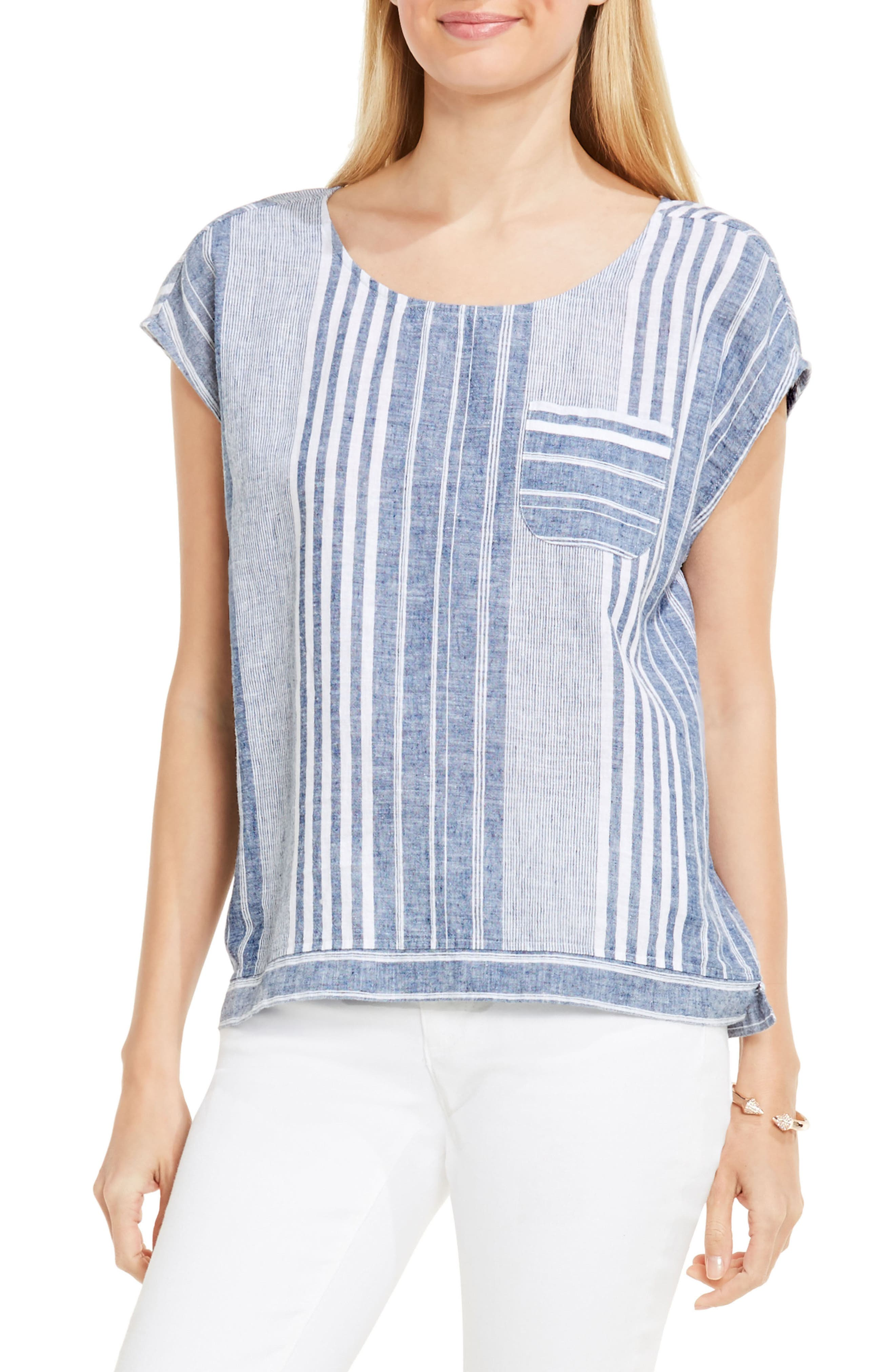 Two by Vince Camuto Linen Stripe Top