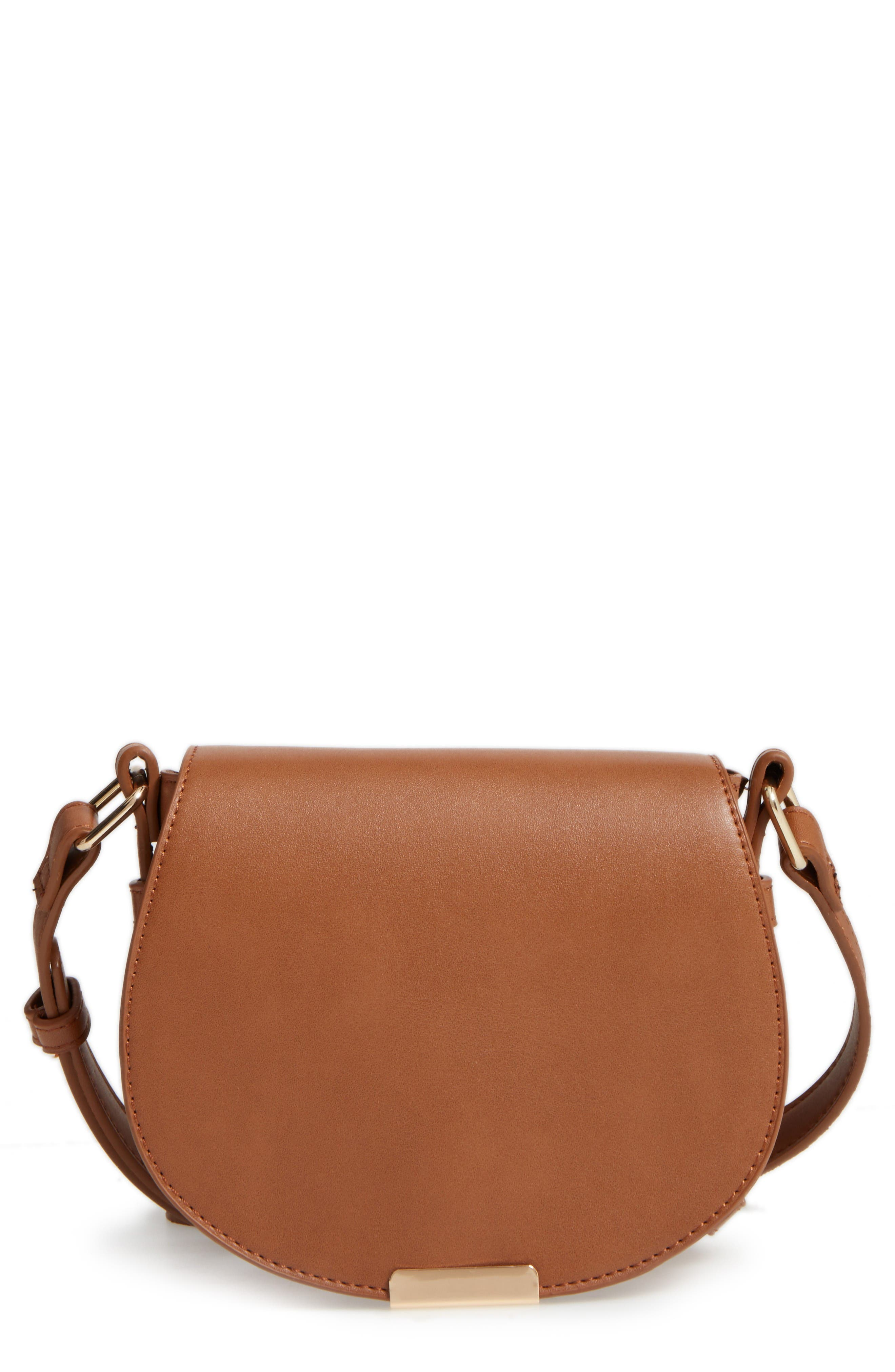 Main Image - BP. Faux Leather Small Saddle Crossbody Bag