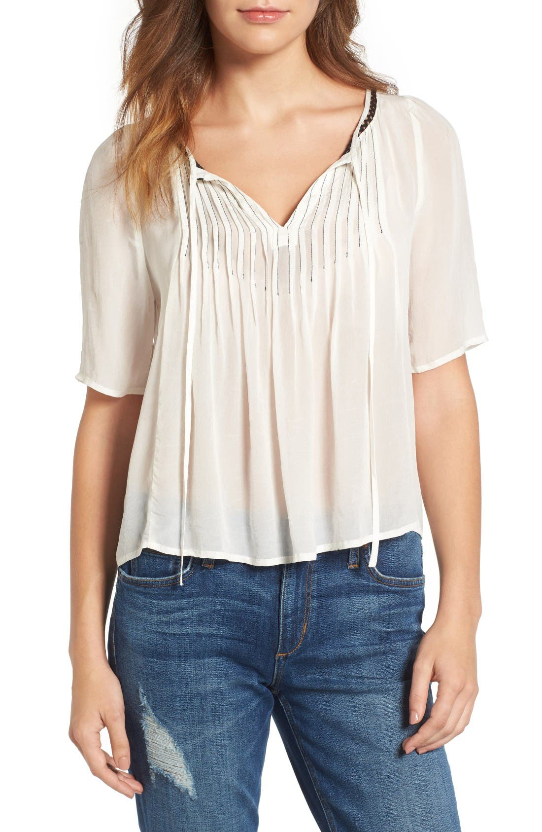 Velvet by Graham & Spencer Pintuck Pleat Split Neck Blouse