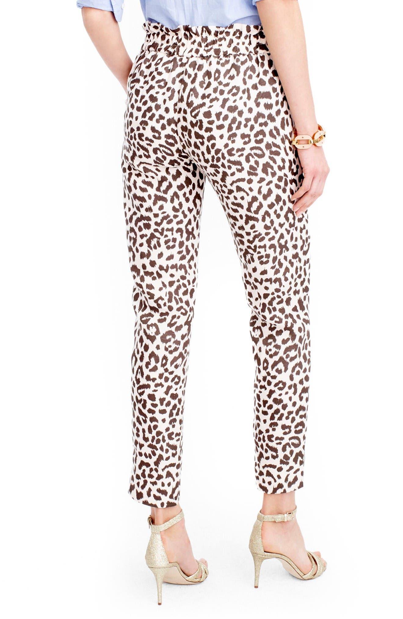 Alternate Image 2  - J.Crew Ruffle Waist Leopard Print Linen Pants (Regular & Petite)