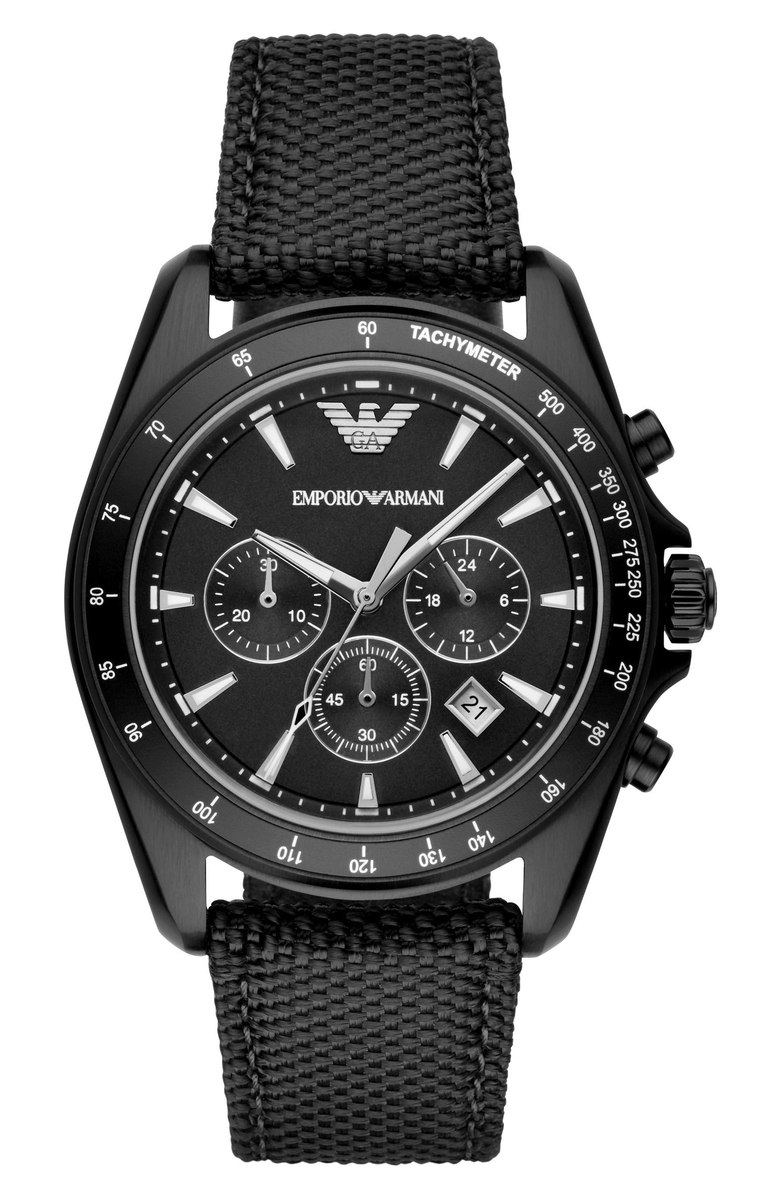Emporio Armani Chronograph Nylon Strap Watch, 44mm