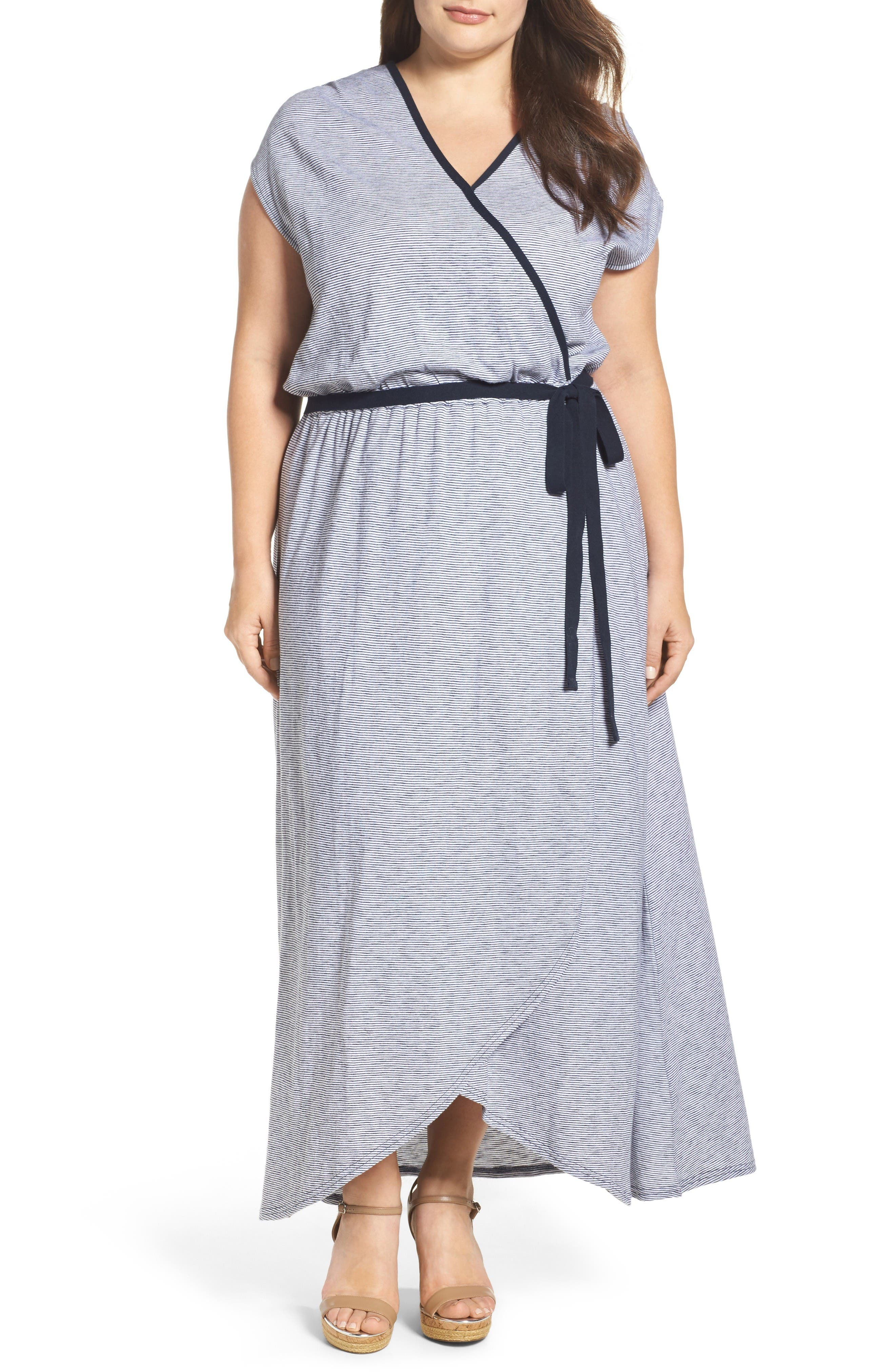 Caslon® Faux Wrap Maxi Dress (Plus Size)