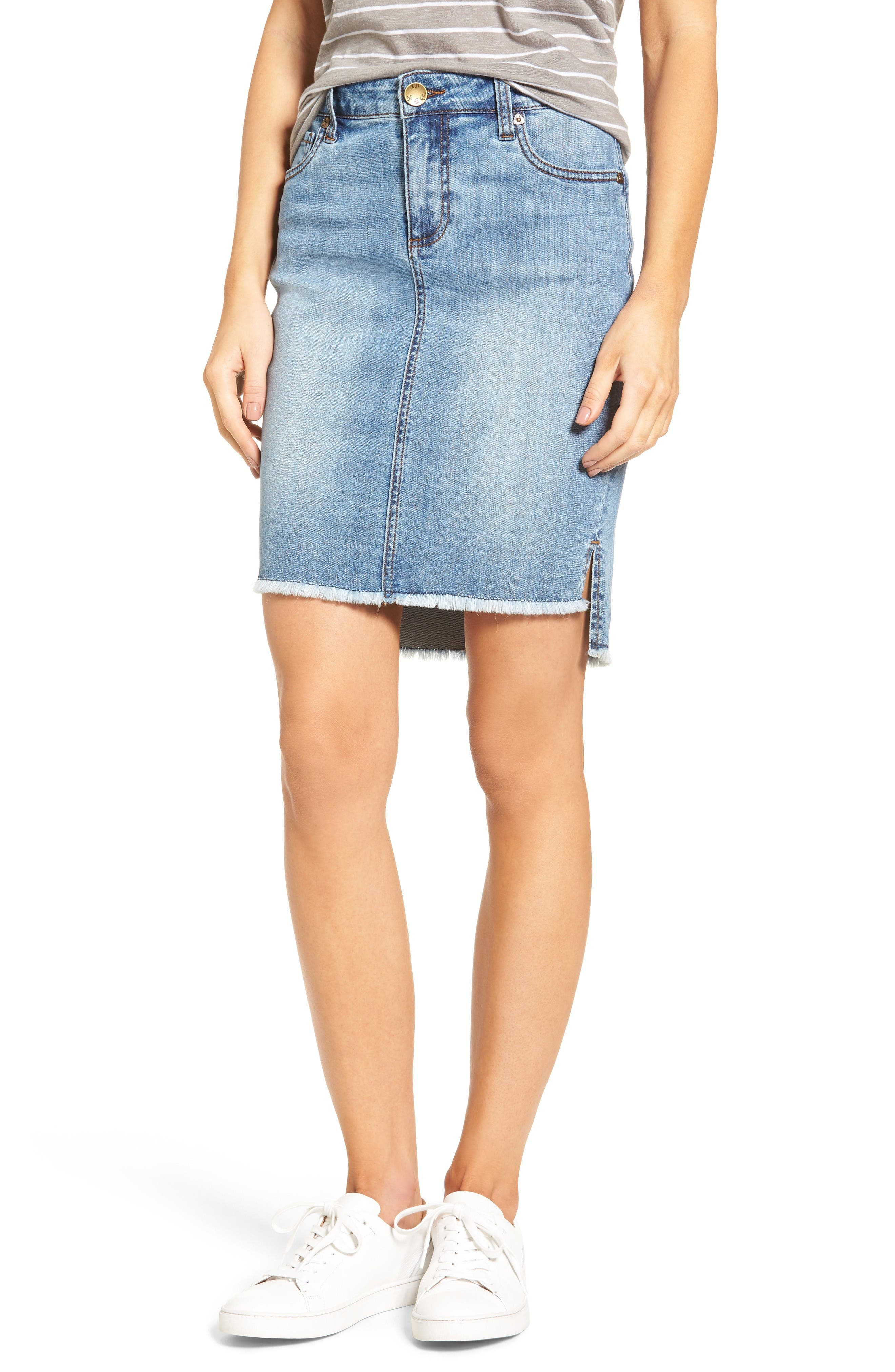 KUT from the Kloth Connie High/Low Denim Skirt