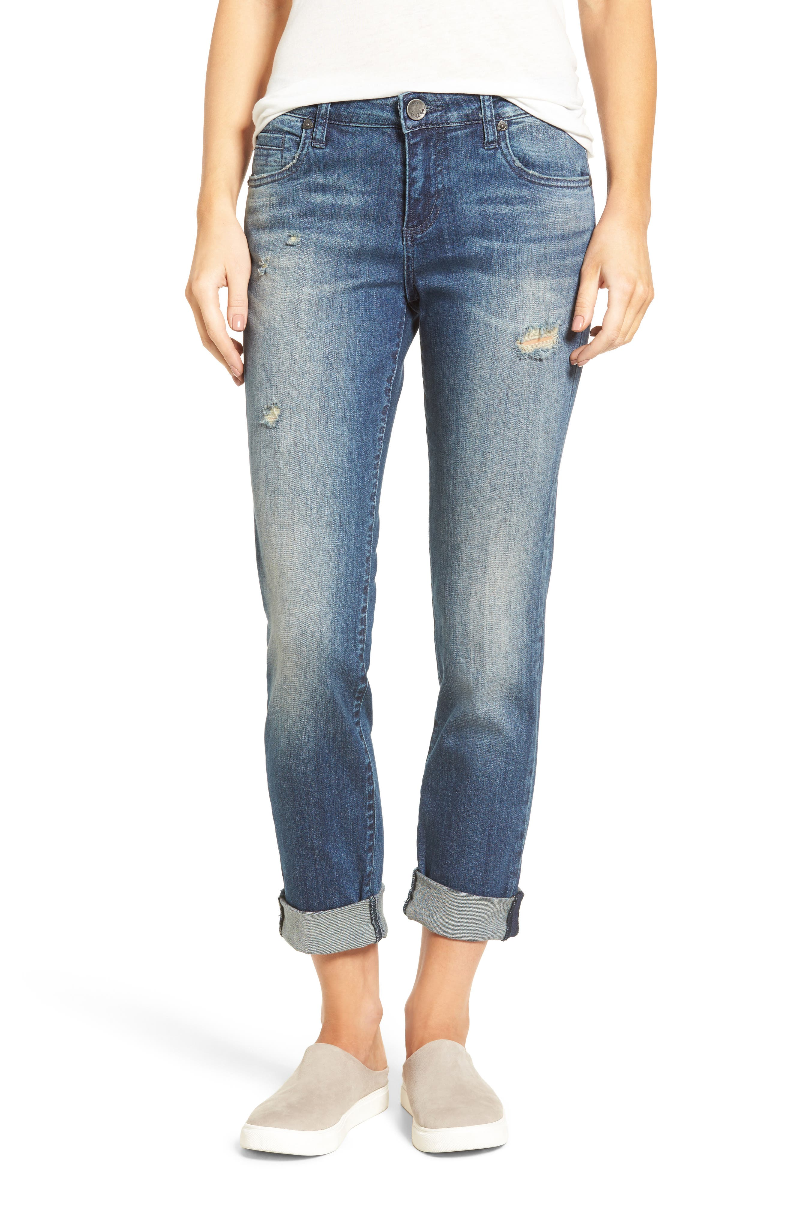 KUT from the Kloth Catherine Roll Cuff Boyfriend Jeans (Complacent)