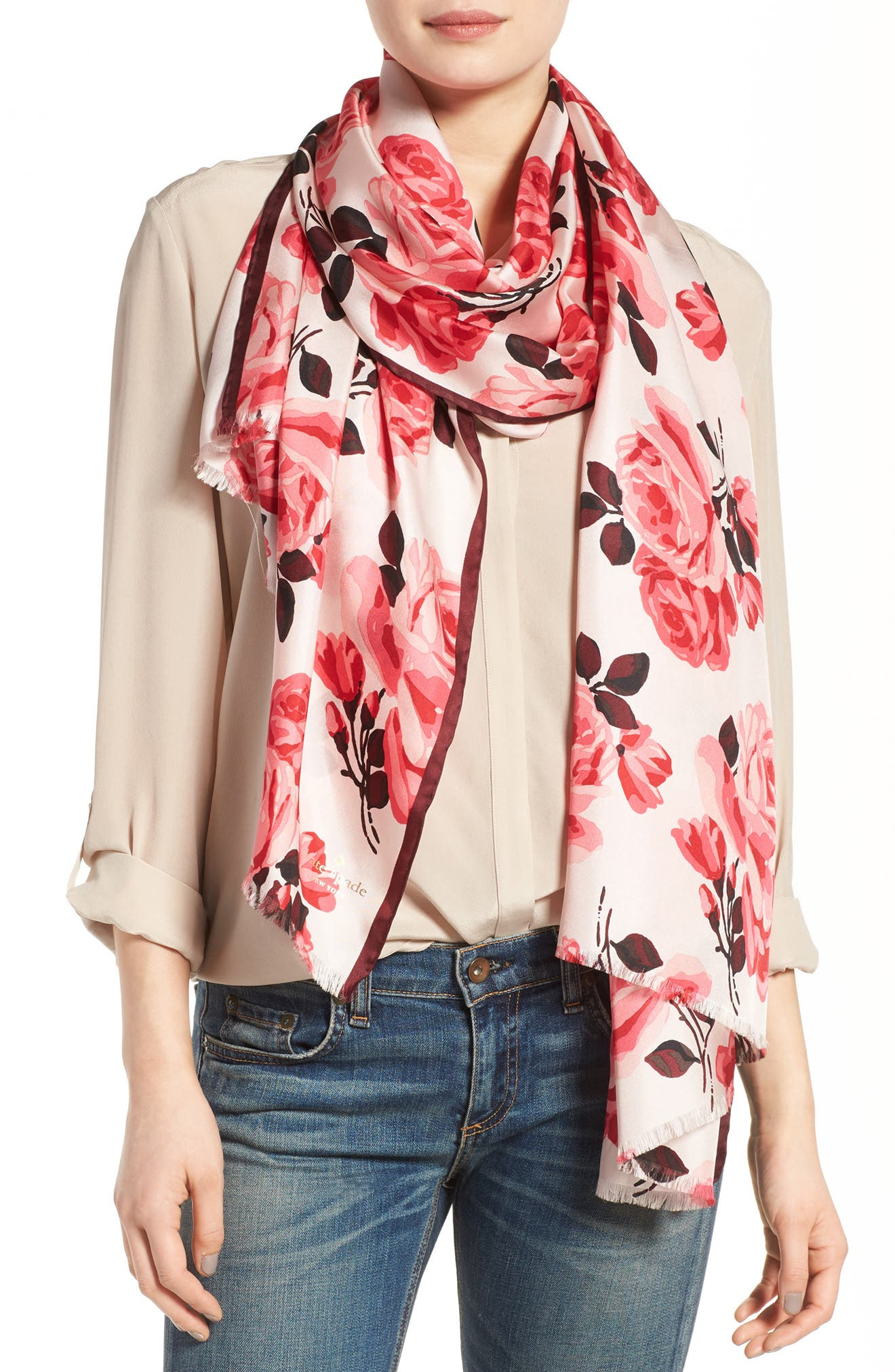 Main Image - kate spade new york rosa silk scarf