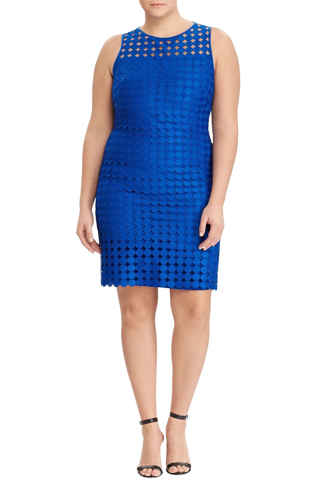 Lauren Ralph Lauren Circle Lace Sheath Dress (Plus Size)