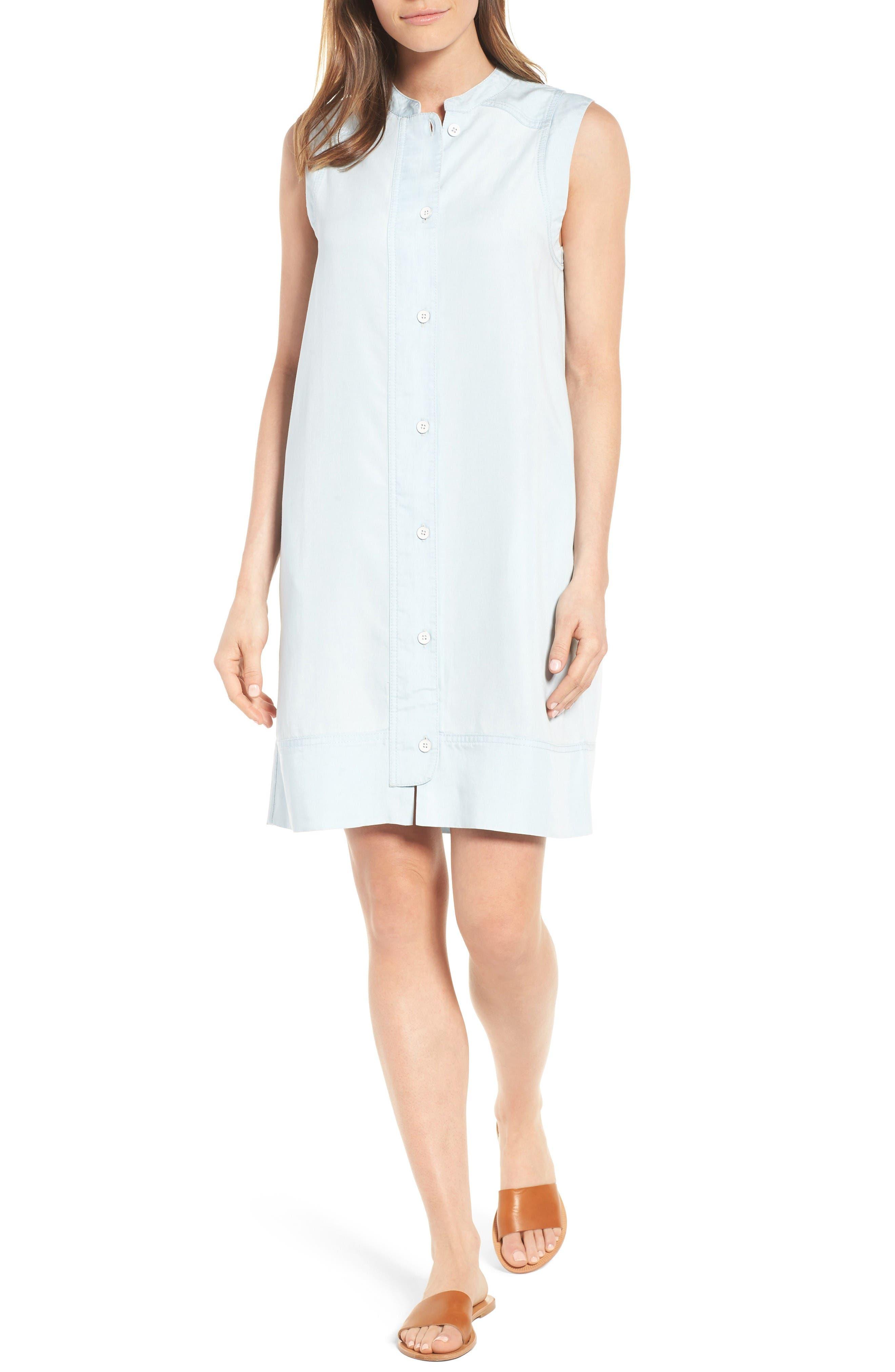 Caslon® Chambray Shirtdress (Regular & Petite)