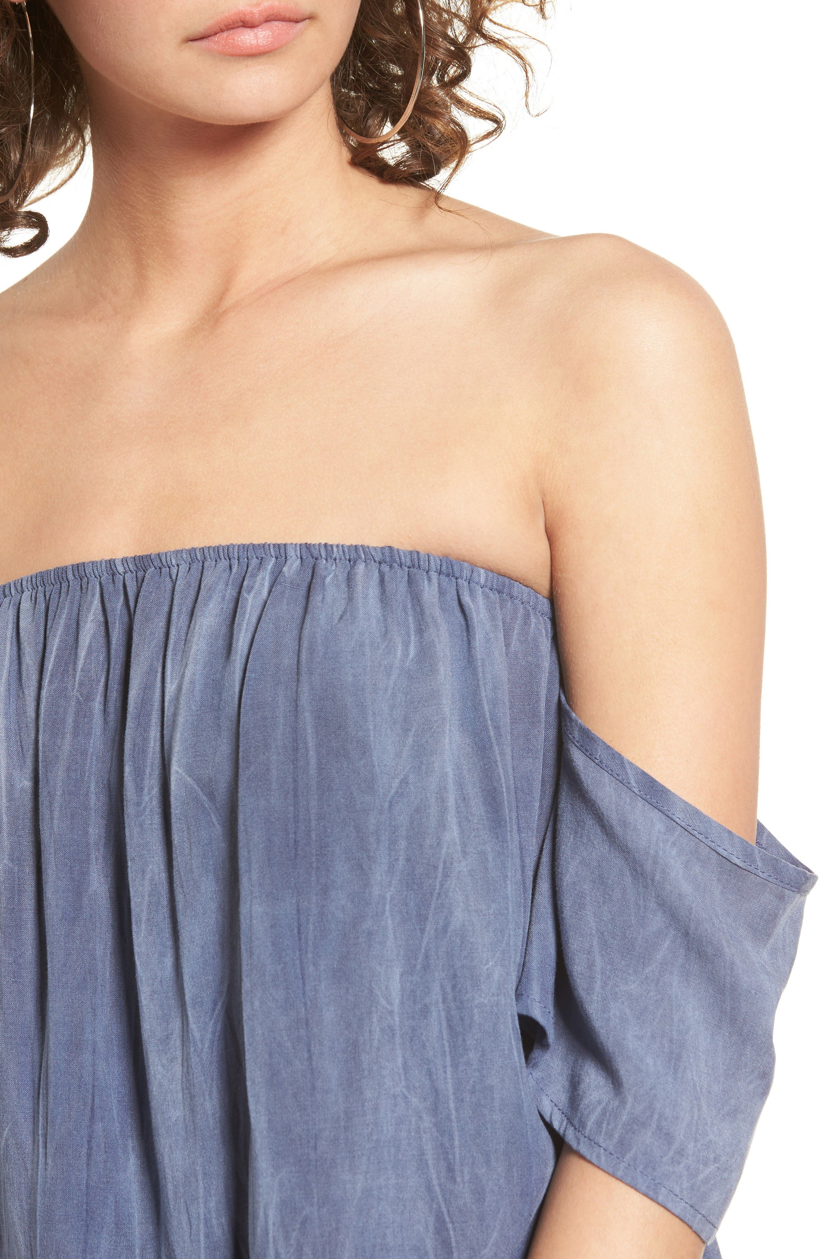 Alternate Image 4  - Sun & Shadow Off the Shoulder Washed Top
