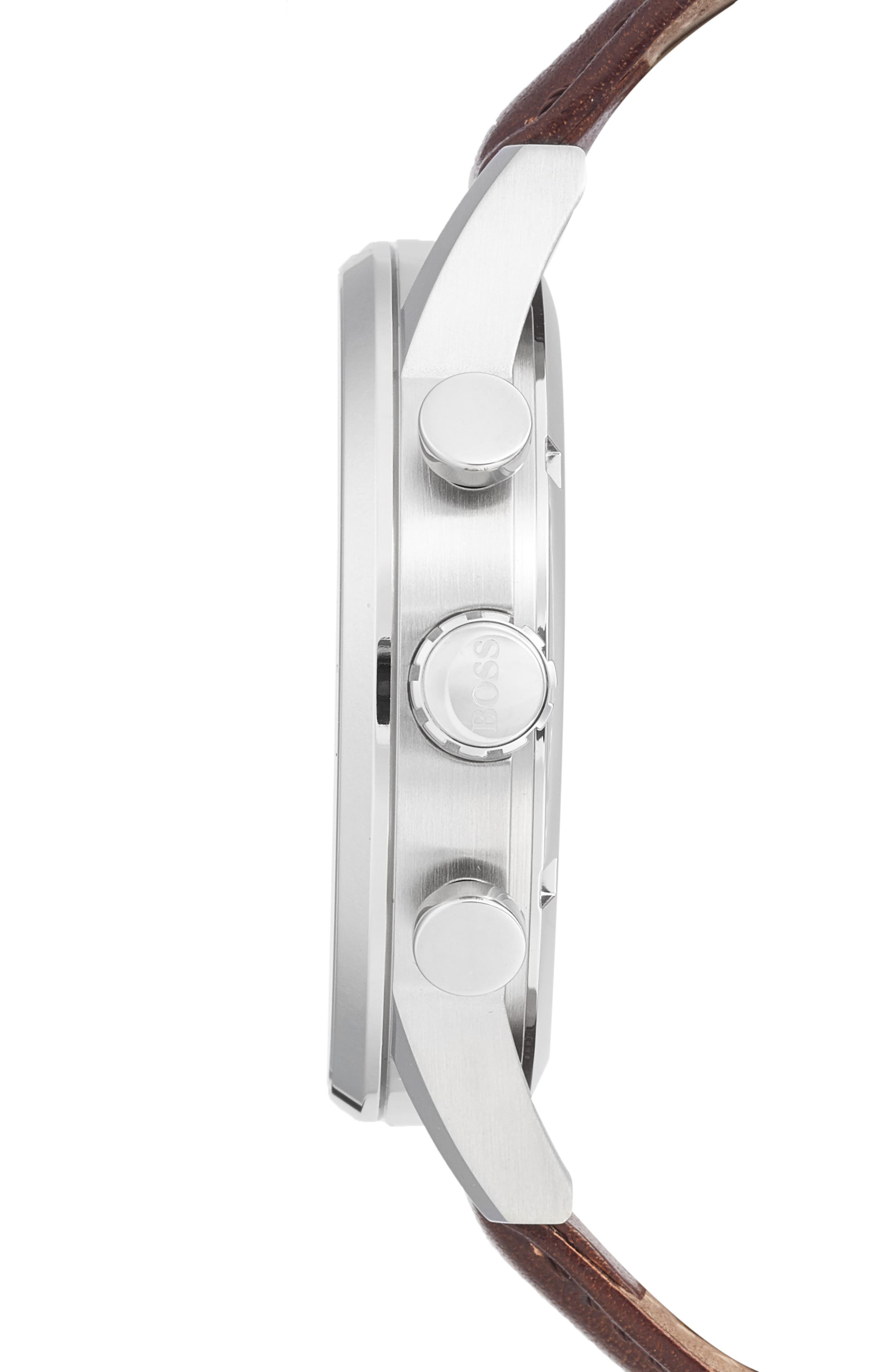 Alternate Image 3  - BOSS Chronograph Leather Strap Watch, 44mm