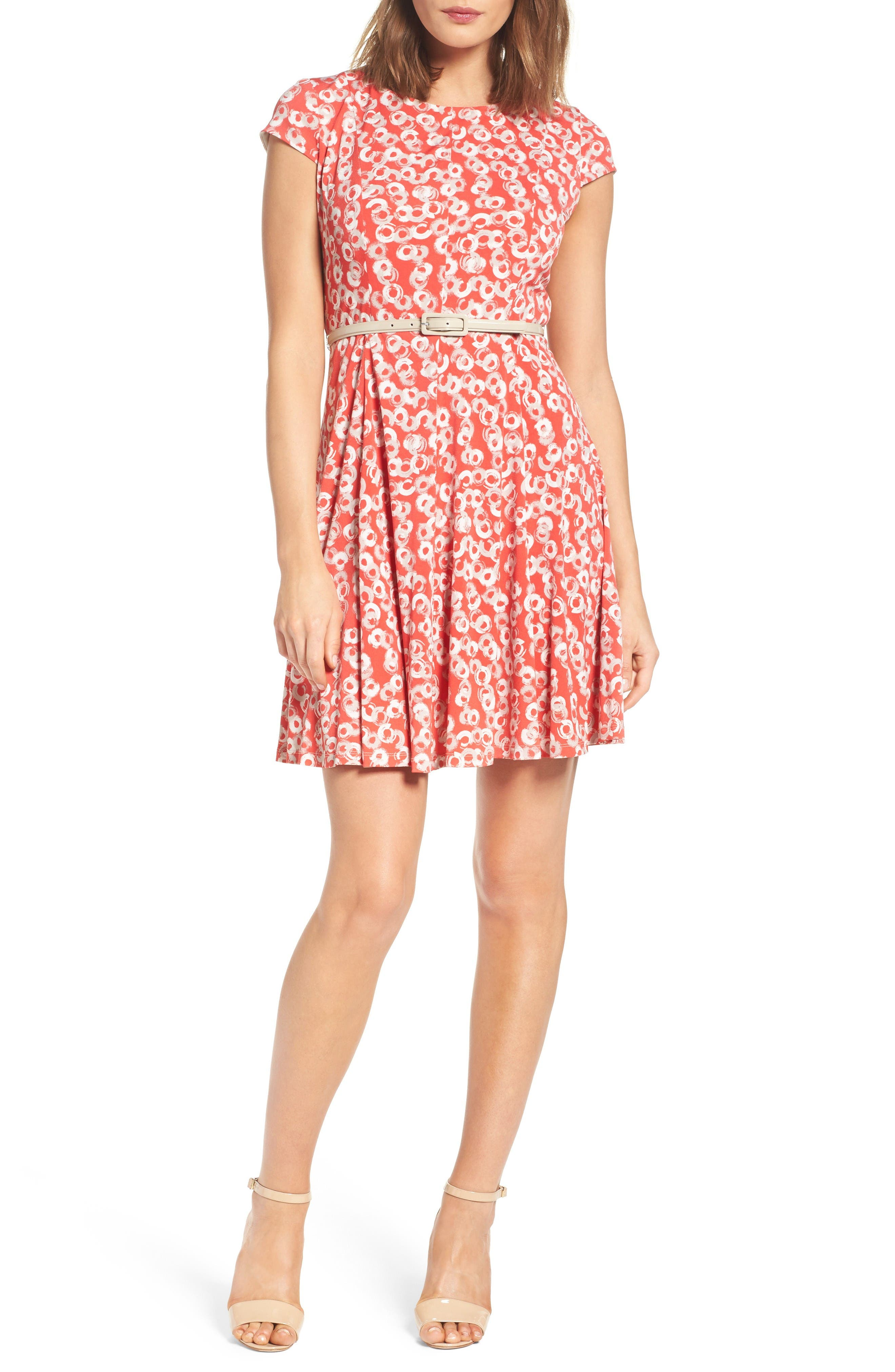 Eliza J Print Fit & Flare Dress (Petite)