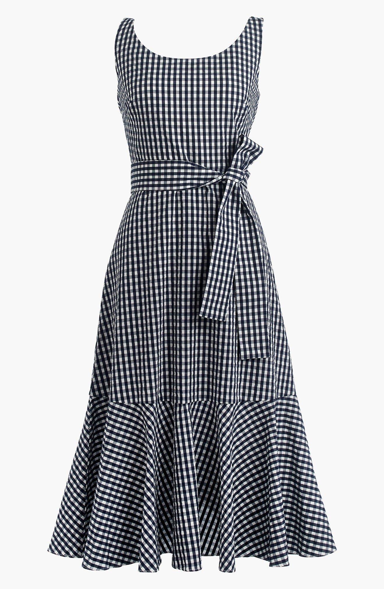 Alternate Image 3  - J.Crew Gingham Ruffle Hem Midi Dress (Regular & Petite)