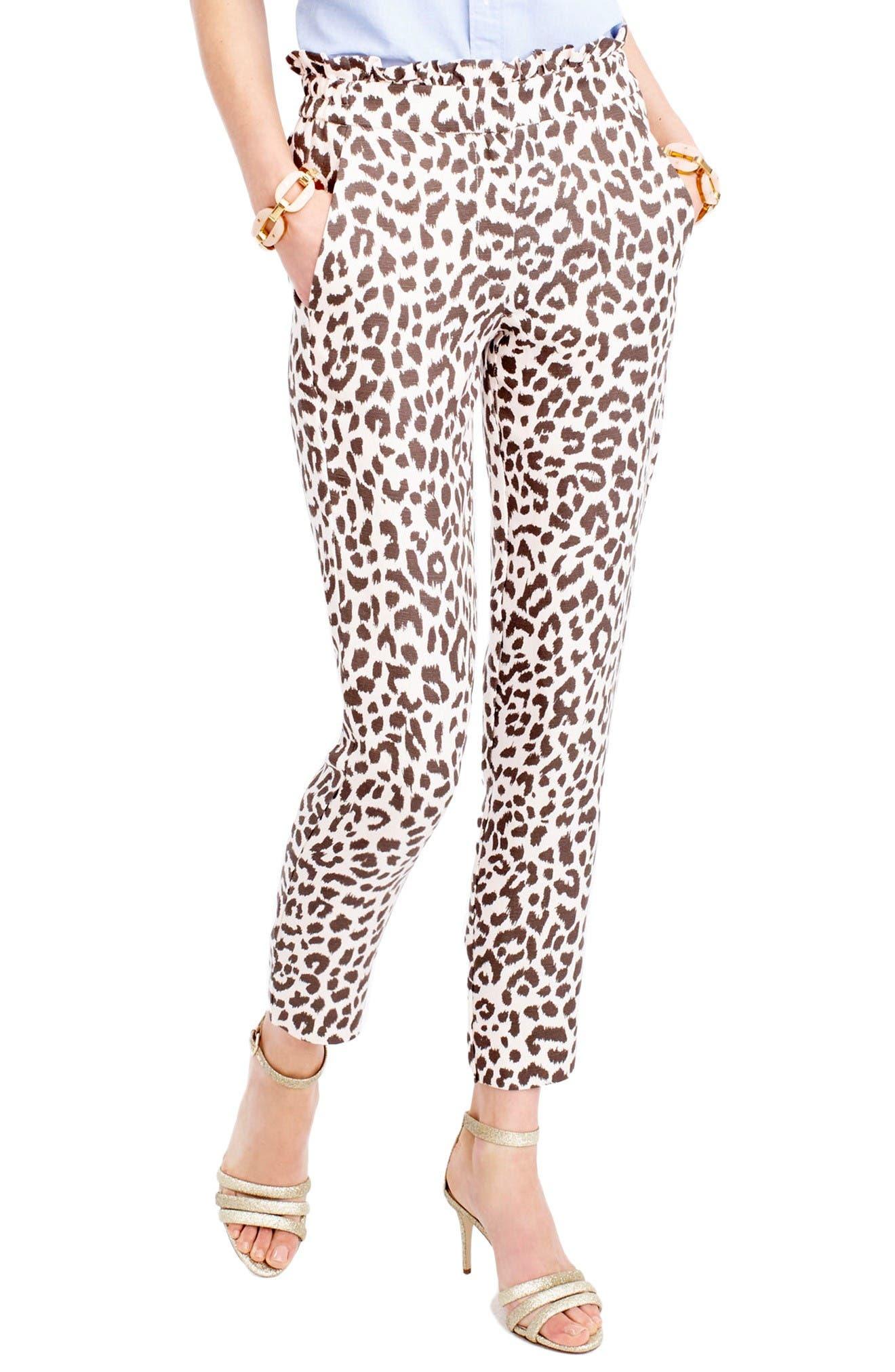 Alternate Image 1 Selected - J.Crew Ruffle Waist Leopard Print Linen Pants (Regular & Petite)