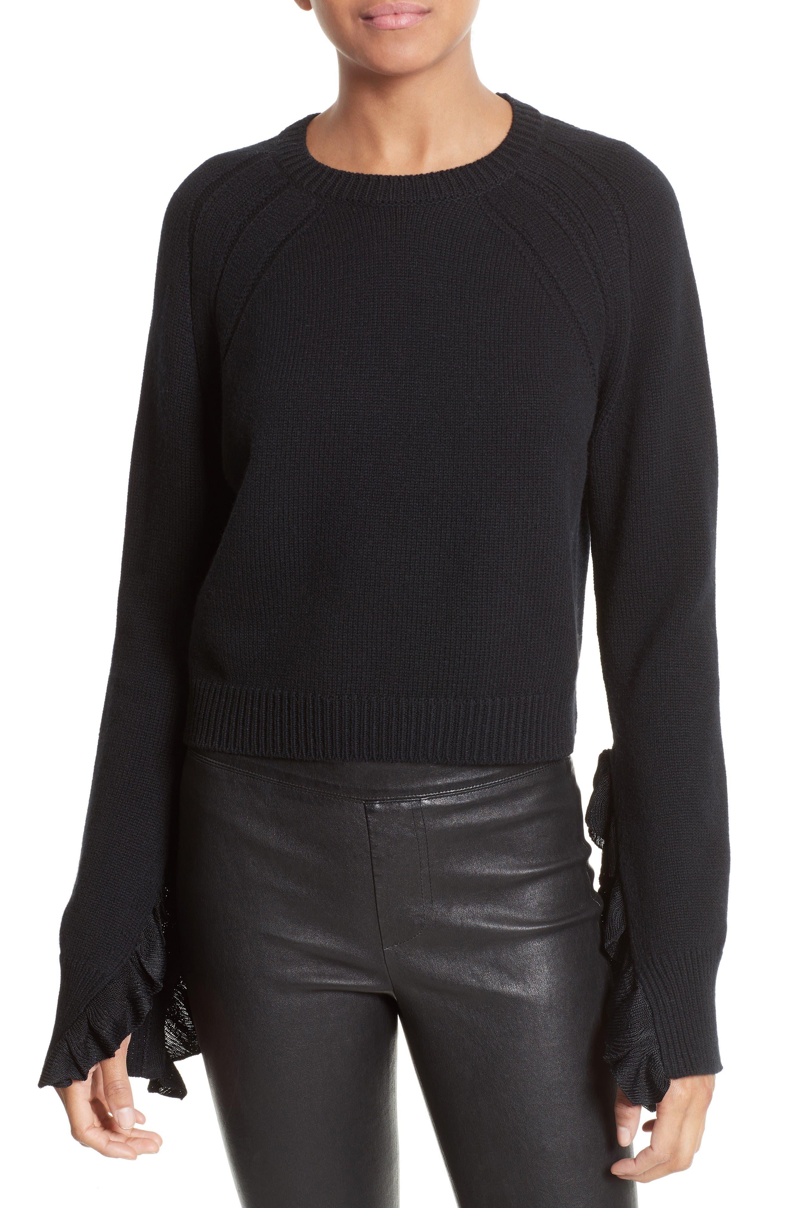 Helmut Lang Ruffle Crop Pullover
