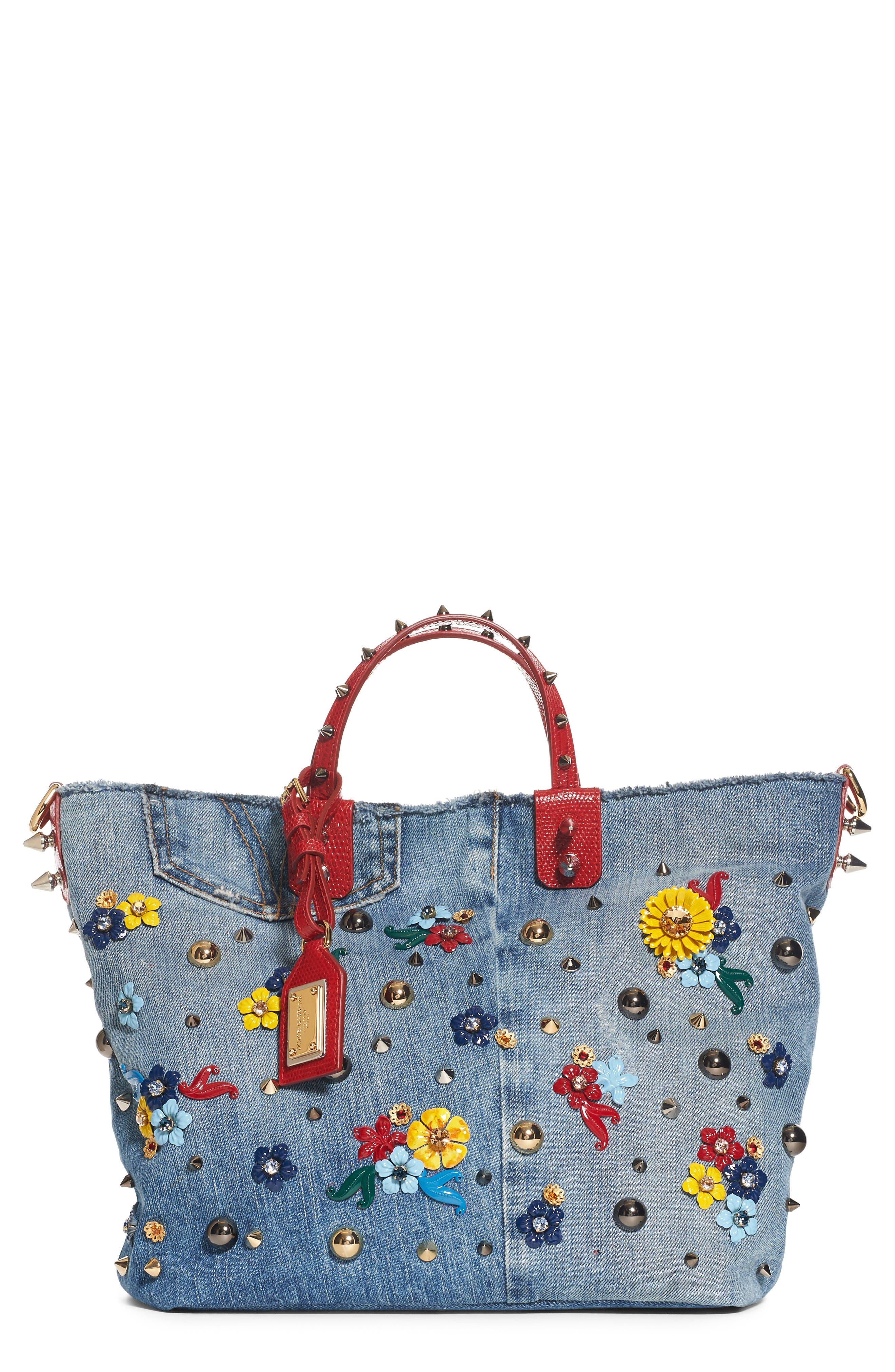 Main Image - Dolce&Gabbana Small Embellished Denim Tote