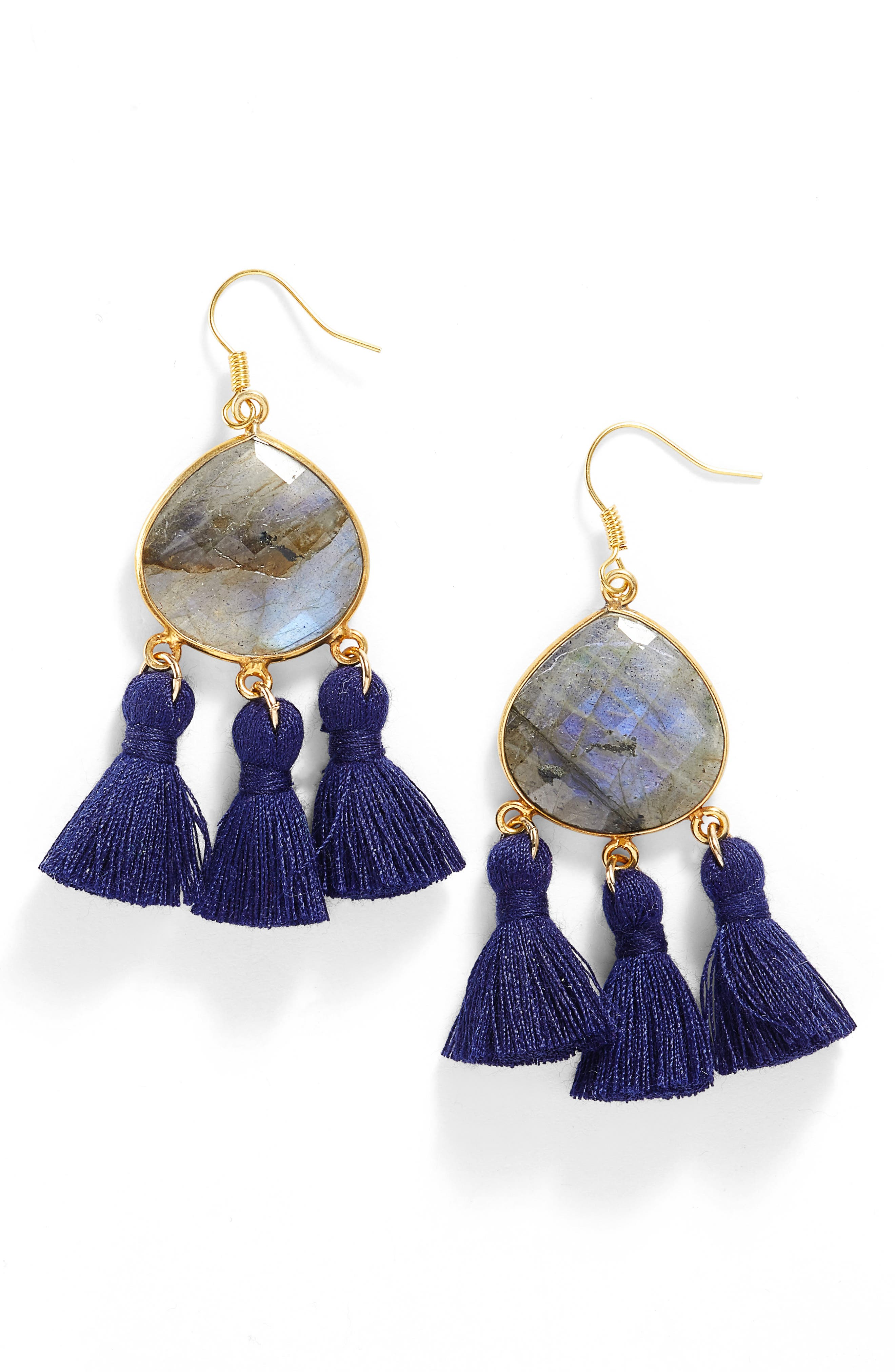 Alternate Image 1 Selected - Love's Affect Lacey Semiprecious Stone Tassel Earrings